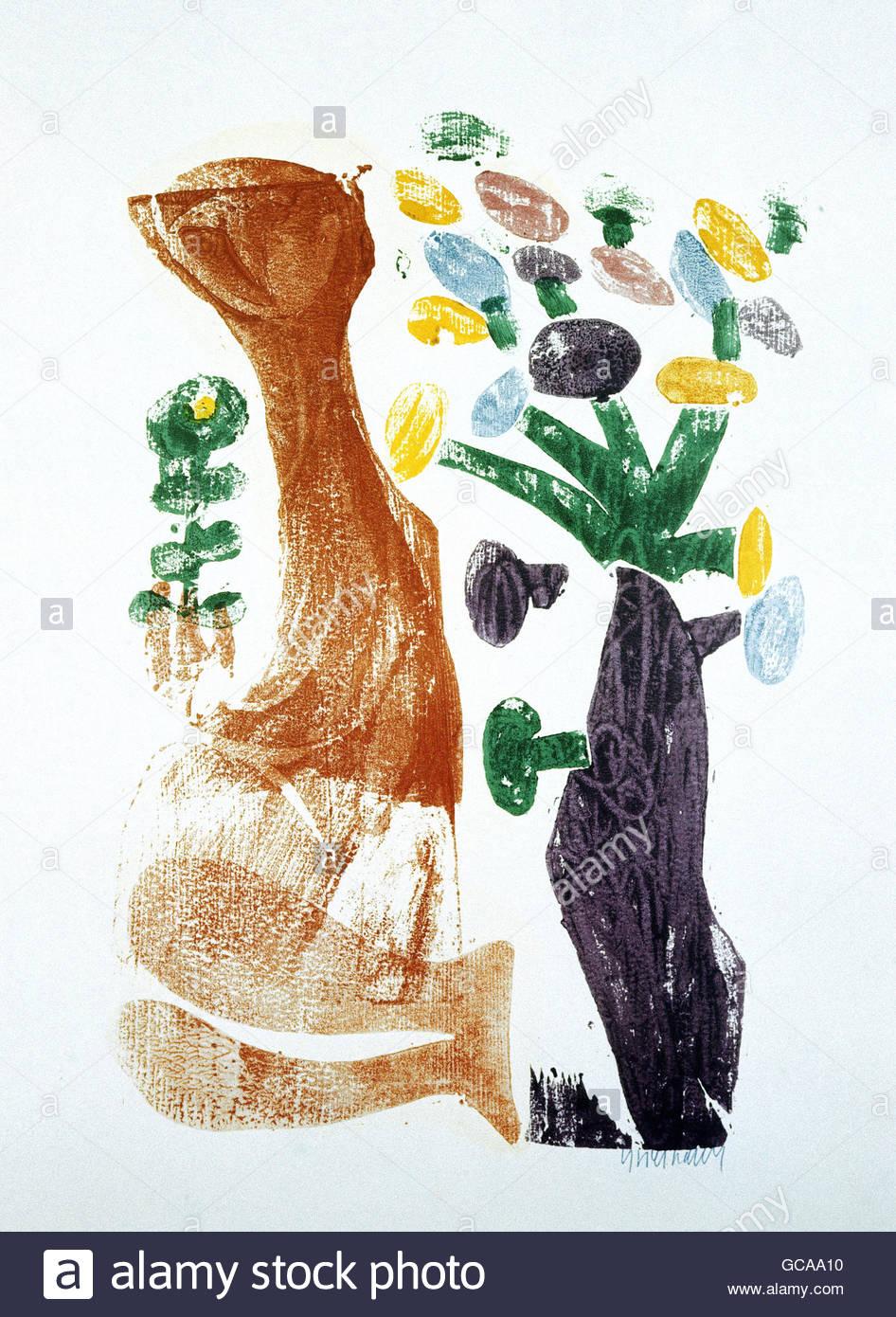 """Bildende Kunst, Grieshaber, HAP (1909 ? 1981), Holzschnitt, """"Frühling"""", des Künstlers Urheberrecht Stockbild"""