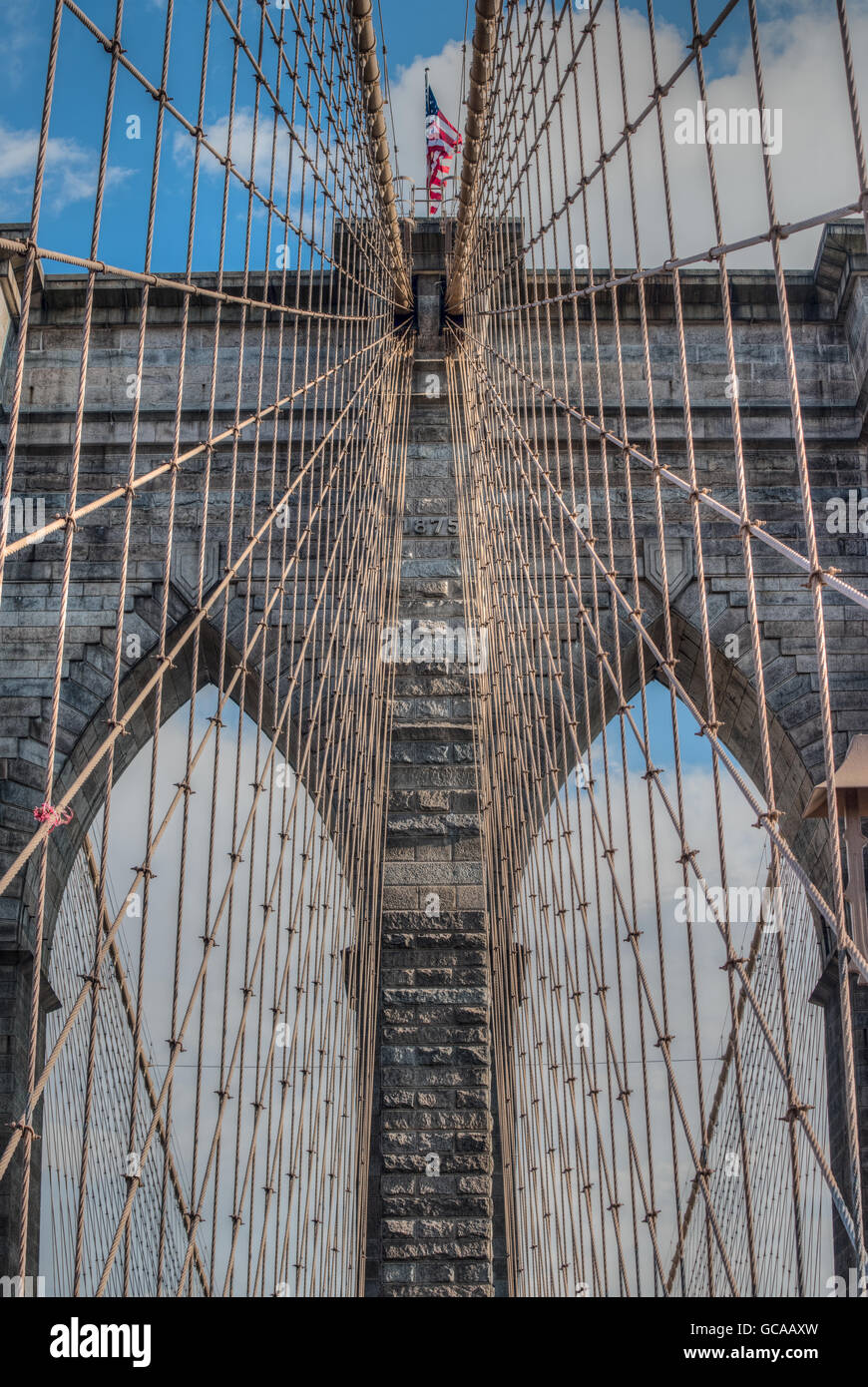 Detail der Brooklyn Bridge, New York City, New York Stockbild
