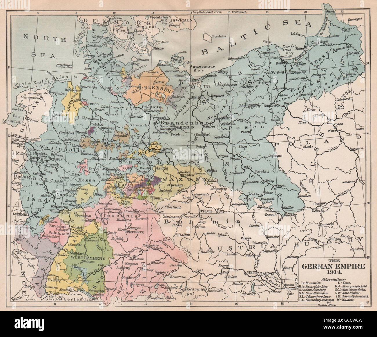 Karte Deutsches Reich 1914.Deutsches Reich 1914 Preussen Bayern Sachsen Baden