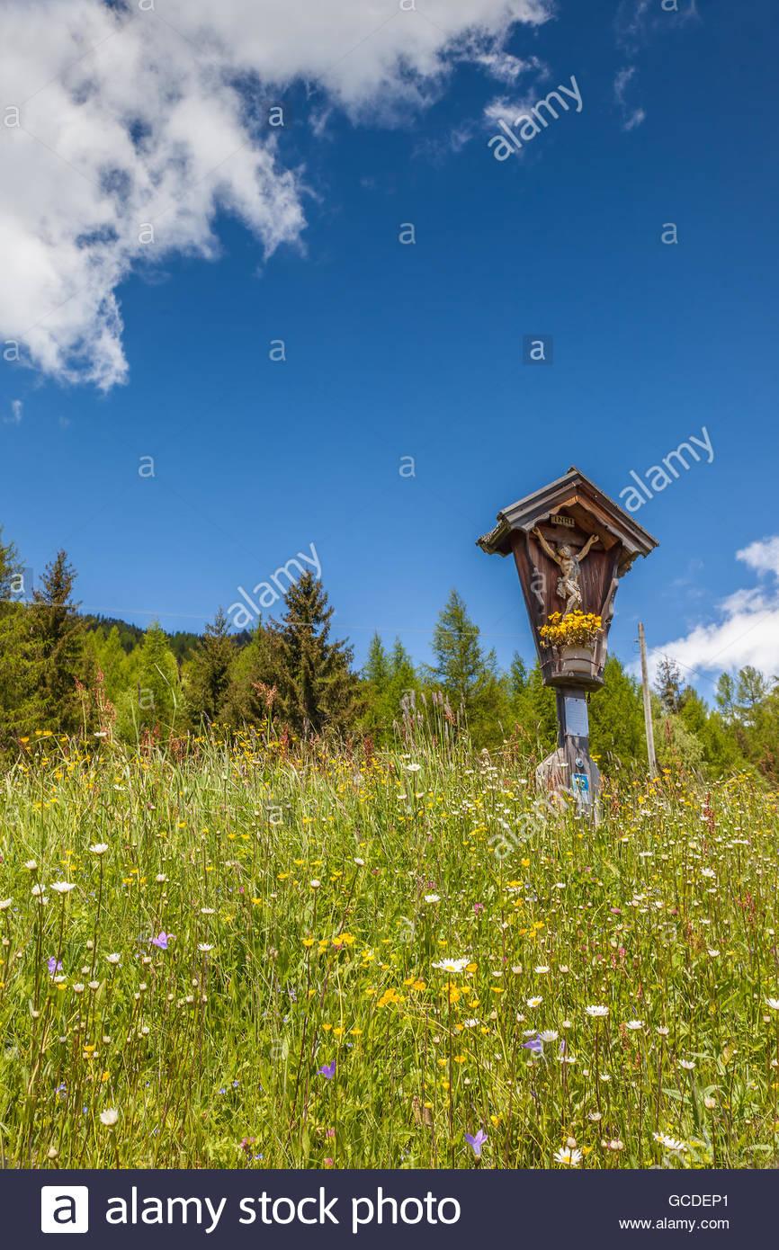 Christlichen Bildstock in Valle Aurina, Südtirol, Italien Stockbild