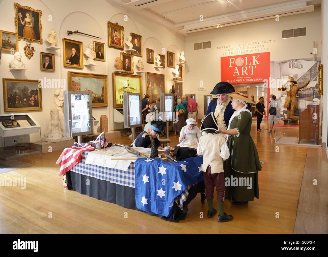 New York Historical Society Museum mit kolonialen Akteuren Stockbild