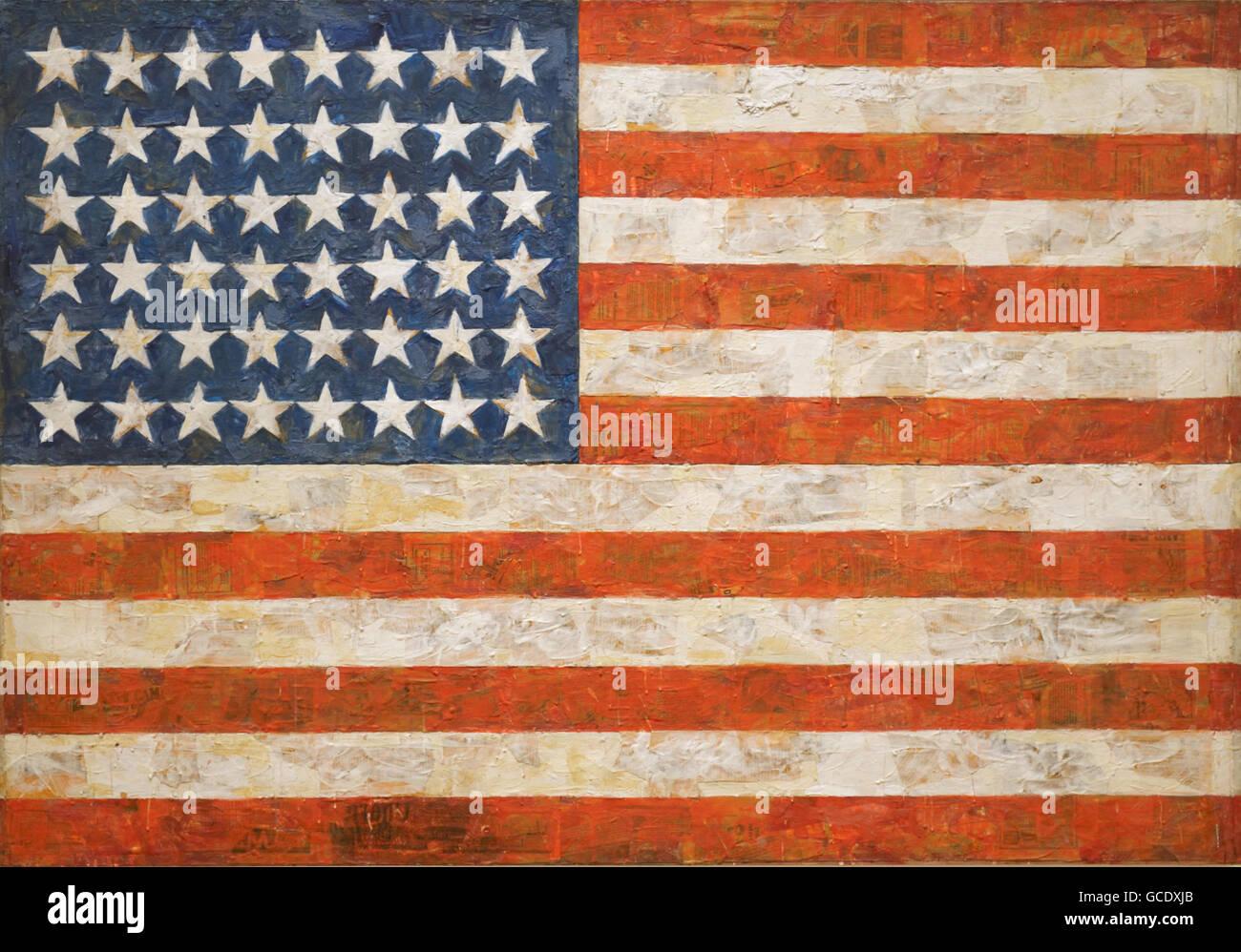 Flagge, 1954 von Jasper Johns Stockbild