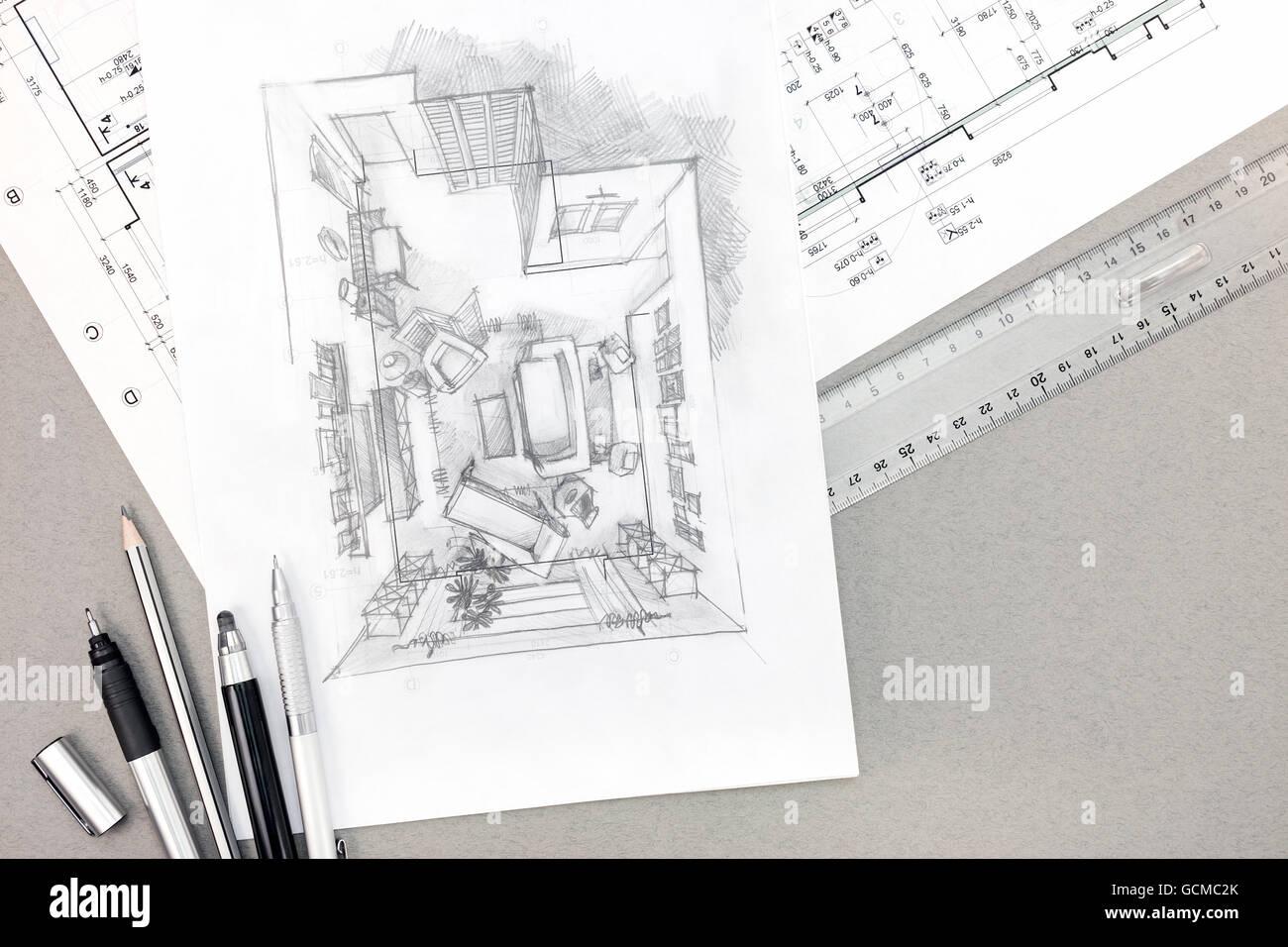 Freehand perspective architectural drawing living for Schreibtisch von oben