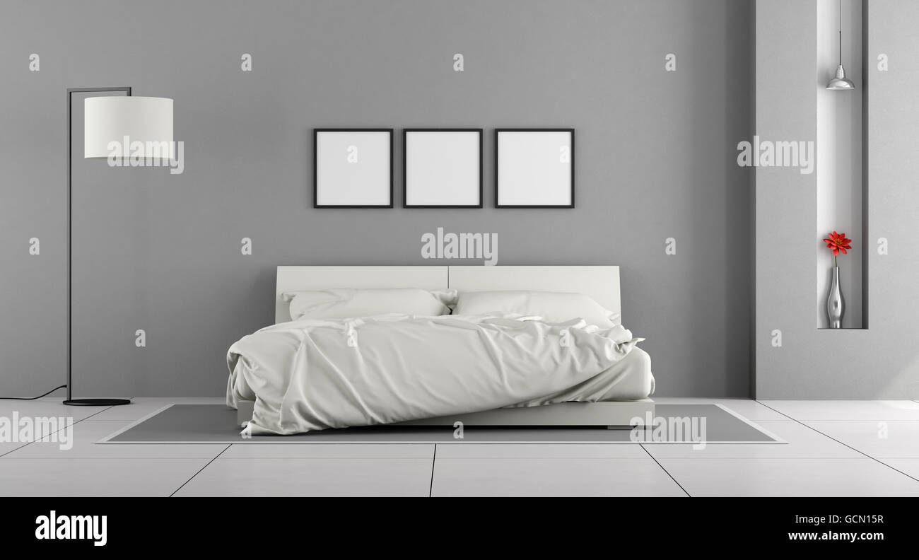 Weiße und graue moderne Schlafzimmer mit Doppelbett - 3d rendering ...