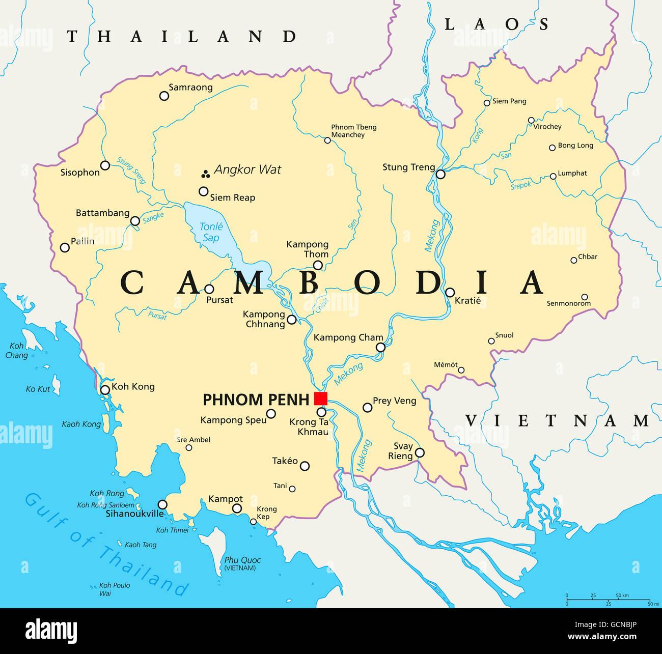 Kambodscha Karte.Kambodscha Politische Karte Mit Hauptstadt Phnom Penh