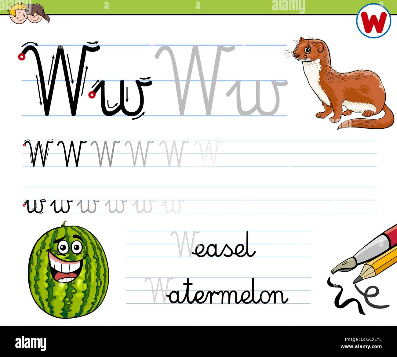 Cartoon Illustration Fähigkeiten Praxis mit Buchstabe W Arbeitsblatt ...