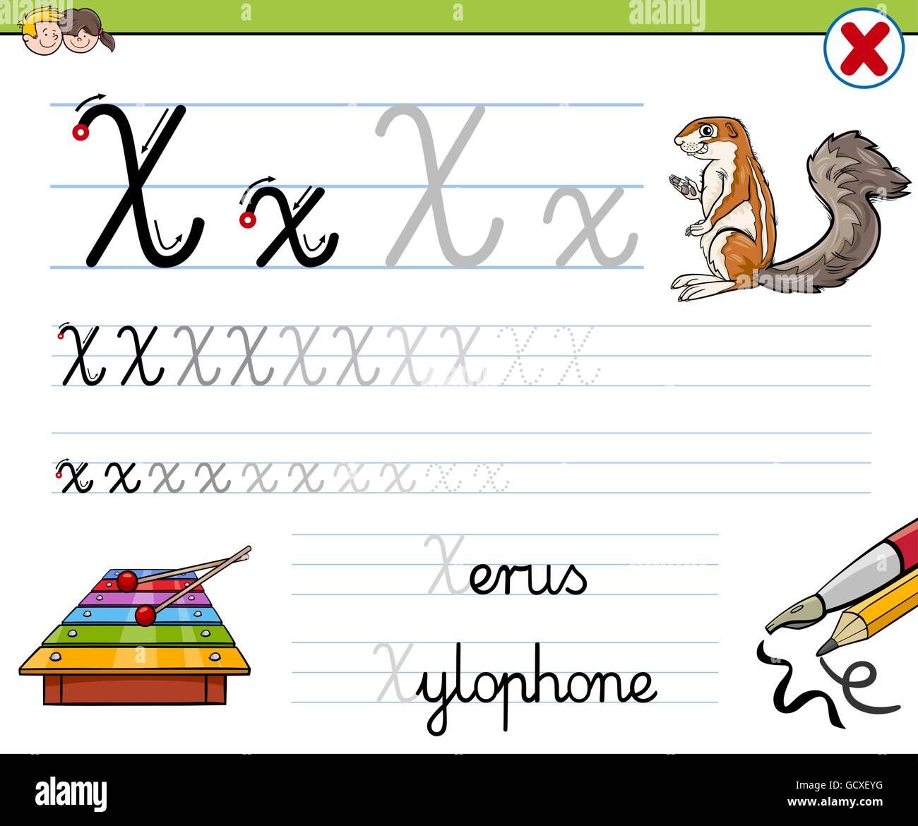 Cartoon Illustration Fähigkeiten Praxis mit Buchstaben X ...