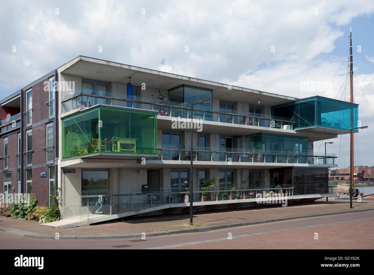 Moderne Architektur, Wohnungsbau auf Borneo Insel, Amsterdam, Holland, Niederlande, Europa Stockbild