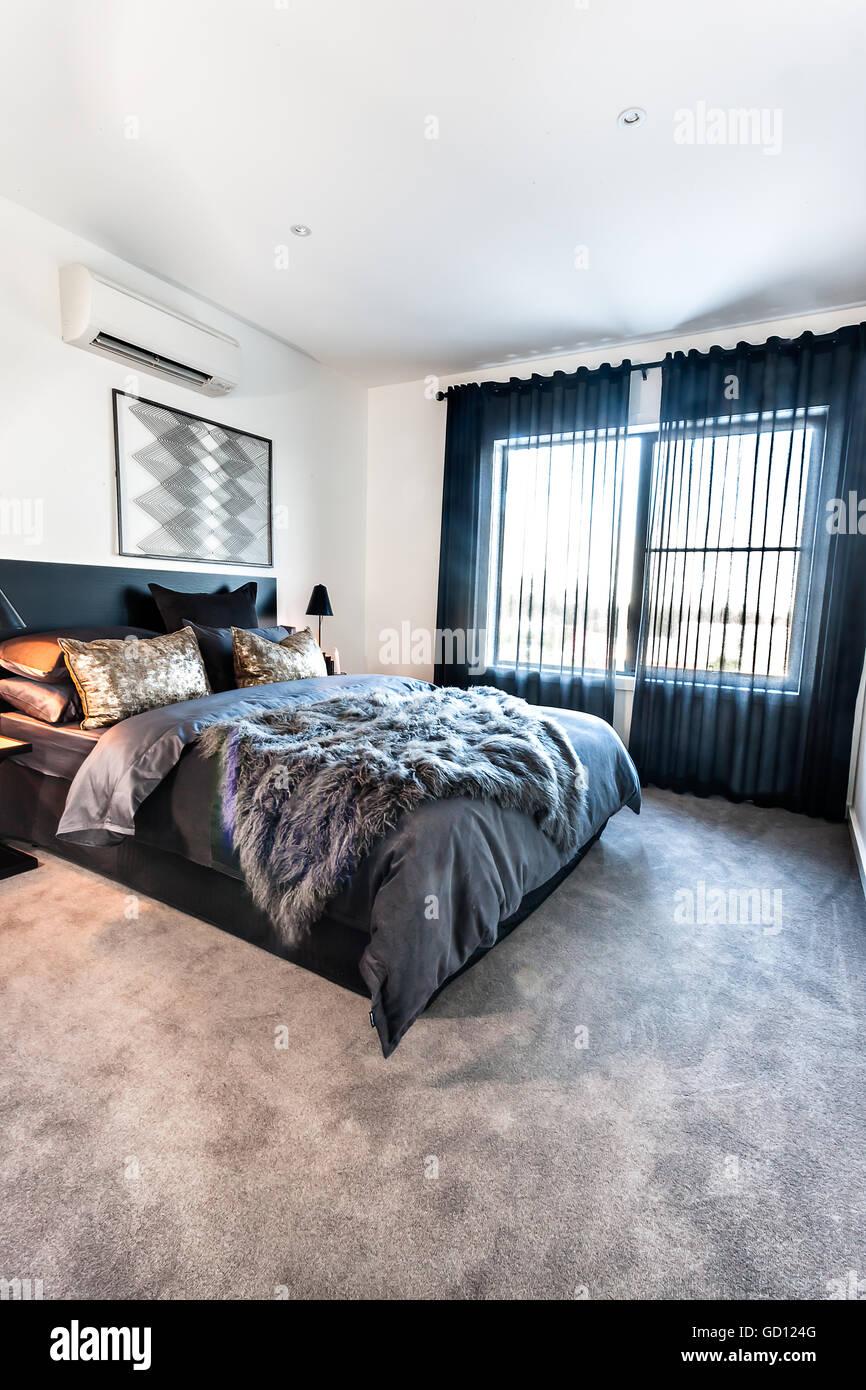Moderne Schlafzimmer mit dunkler Farbe Dekorationen ...