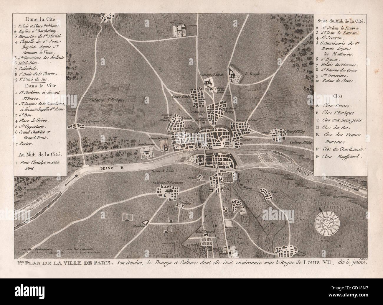 Ville de paris c1180: sous le regne de louis vii. stadtplan