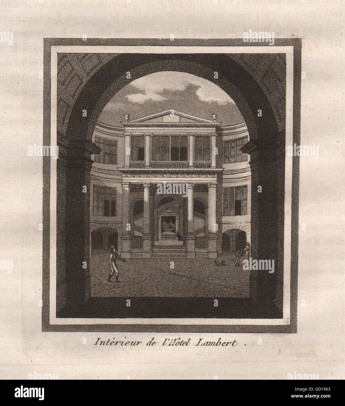 PARIS: Intérieur de l'Hôtel Lambert. Aquatinta, antiken Druck 1808 Stockfoto