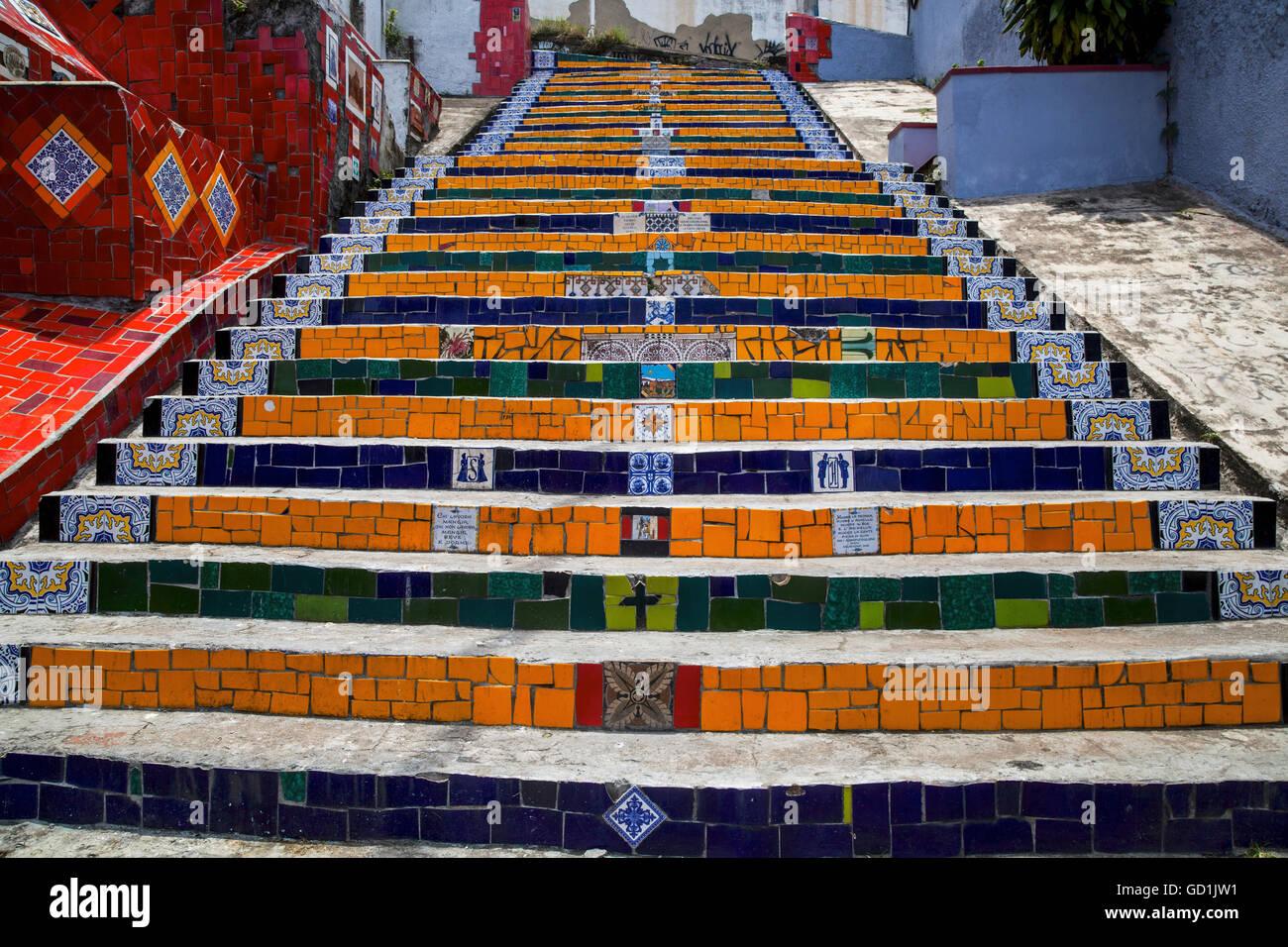 Escadaria Selaron Schritte in Lapa; Rio De Janeiro, Brasilien Stockfoto