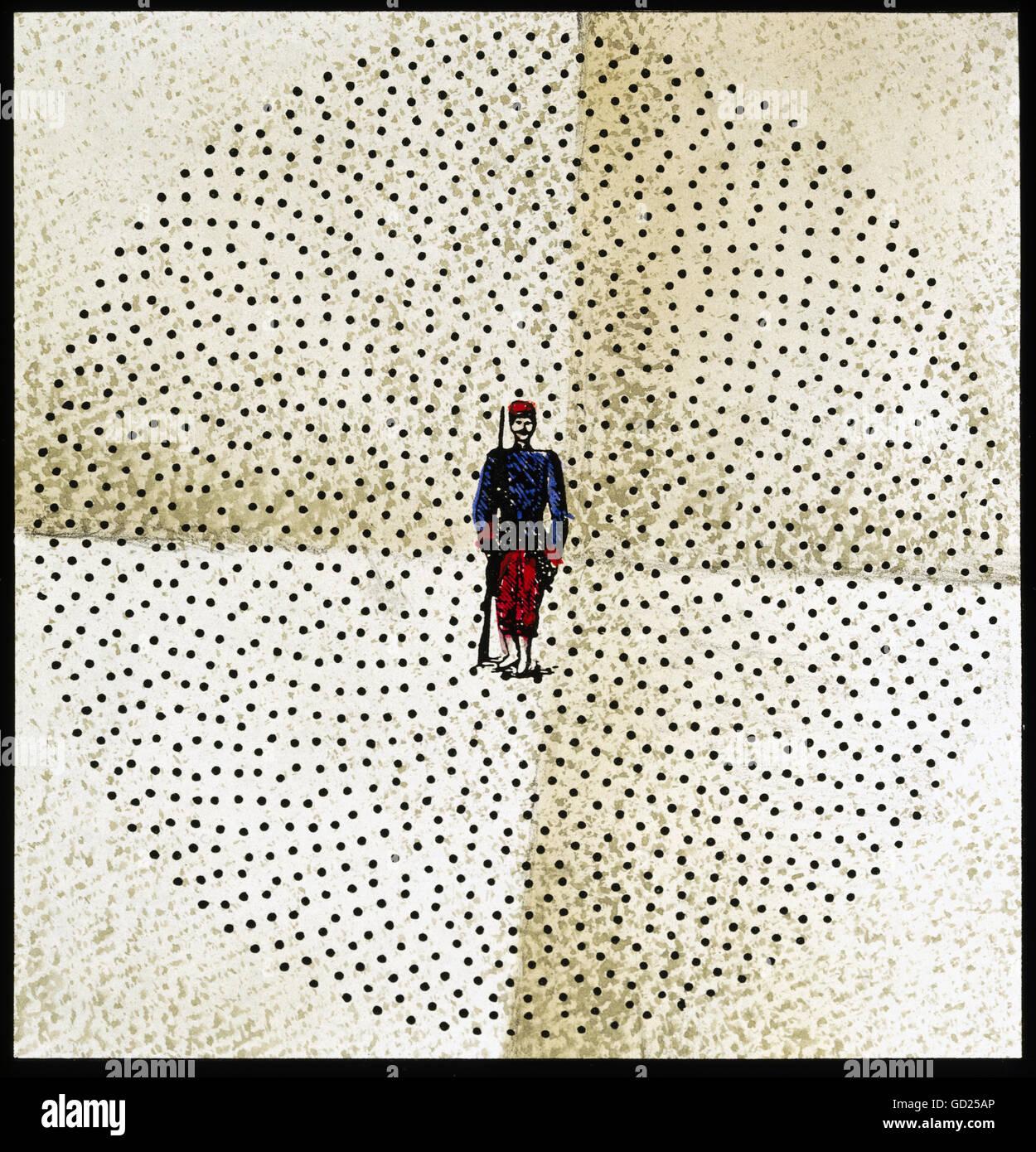 Ereignisse, Deutsch-Französischer Krieg 1870 - 1871, 'So viele Gewehrkugeln wurden benötigt, um einen Soldaten zu töten', später Holzstich, Privatsammlung, , Zusatzrechte-Freizeichen-nicht vorhanden Stockfoto