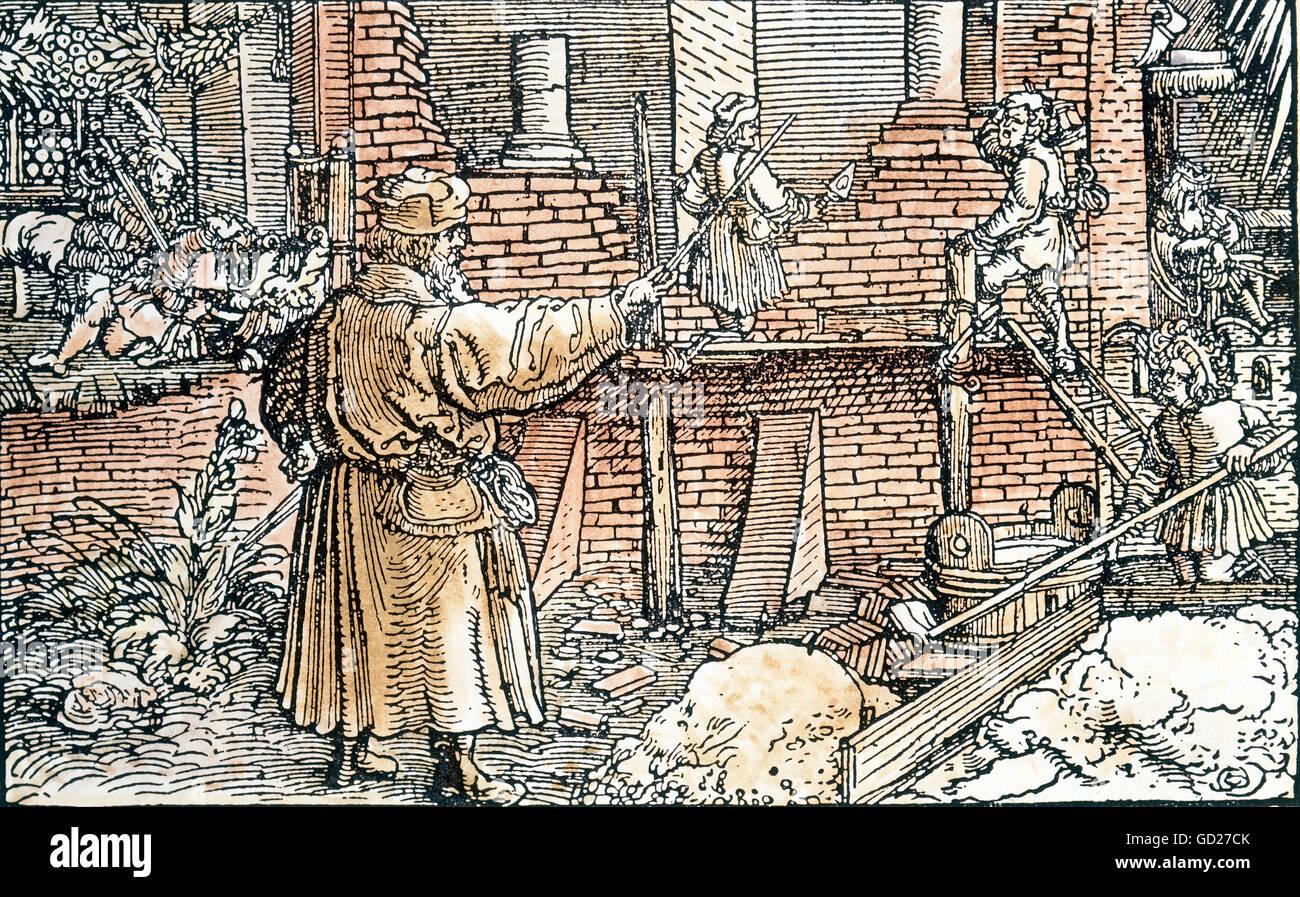Allegorien, 'Über prächtige Bauten', die Herrlichkeit eines Gebäudes der Baumeister und der Stockbild
