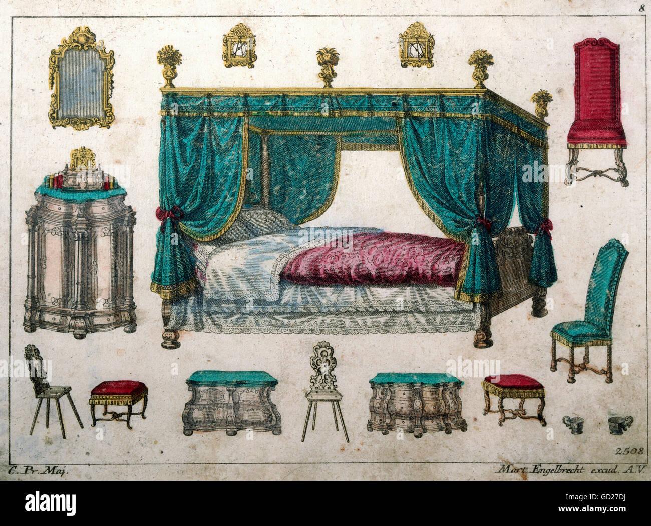 Möbel, Schlafzimmermöbel, kleine bildhafte Broadsheet ab ...