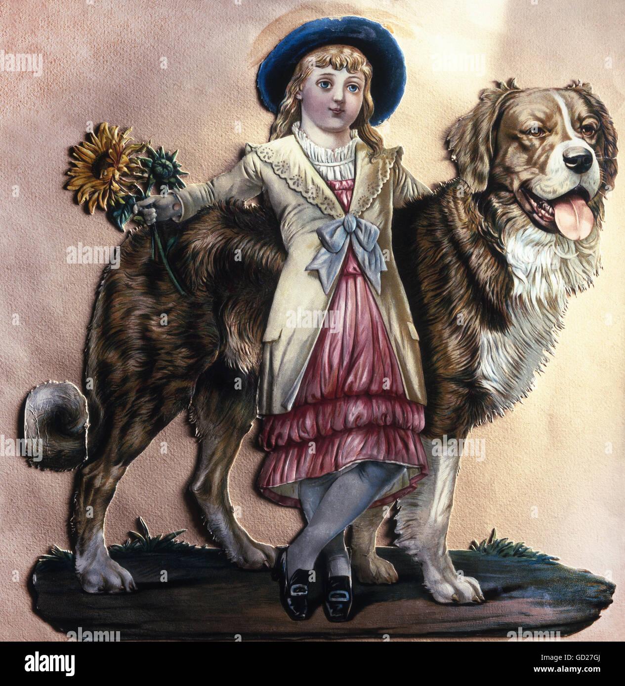 Bildende Kunst, Drucke, Mädchen mit Saint Bernard dog, chromolithograph auf Dekorpapier, geprägte, löchrig, Stockbild