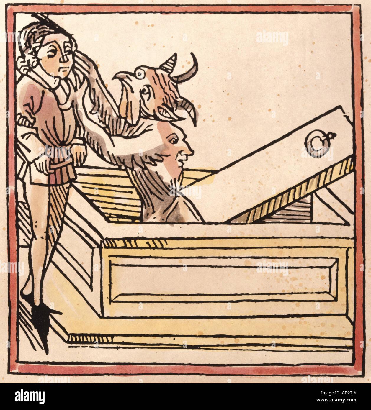 Aberglaube, Dämonen, Jüngling mit Daemon, aus dem Bericht von Johann von Mandeville' über fremde Stockbild