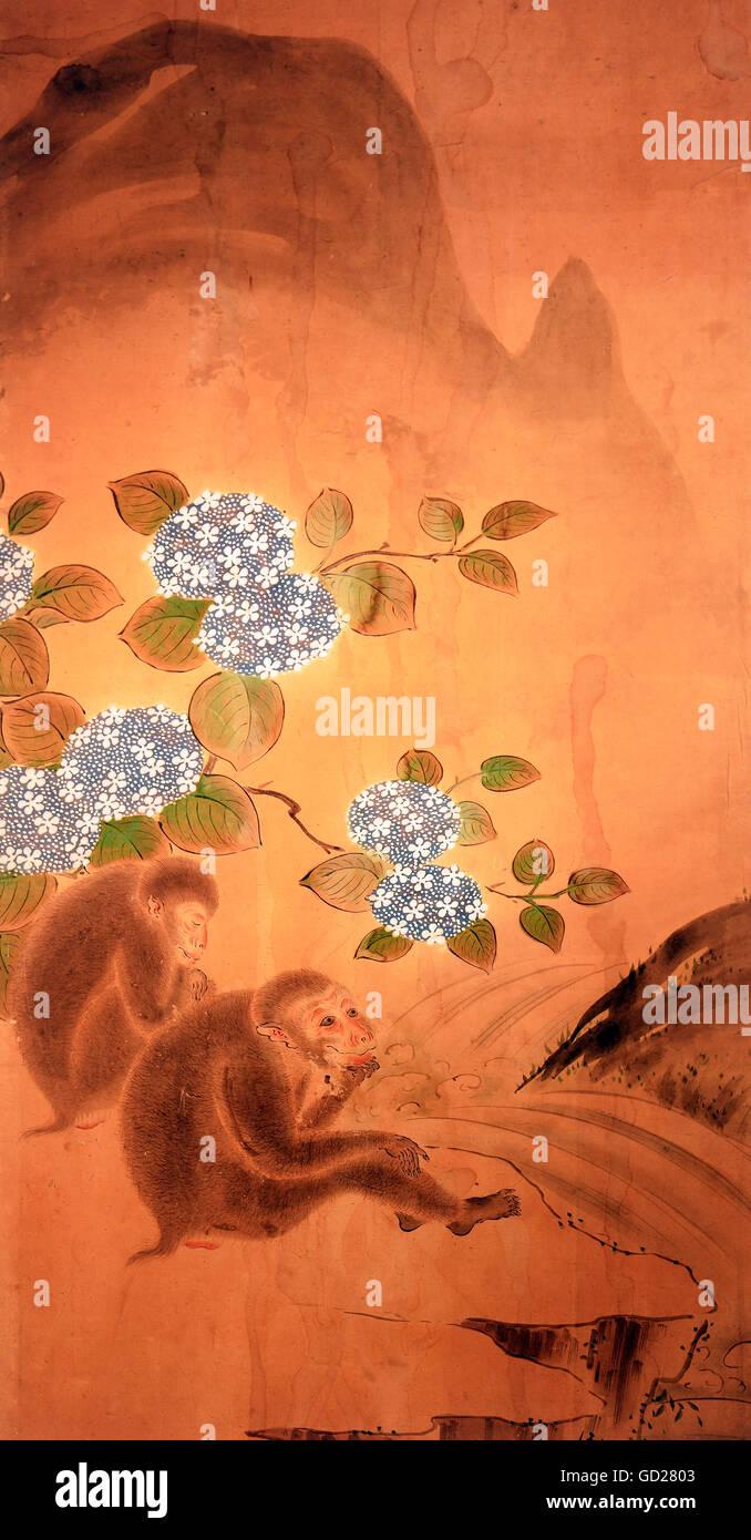 ... Malerei, Zwei Affen An Einem Wasserfall Vor Einer Blüte Viburnum Busch,  Teil Der Einen Paravent, Um 1820, Schwäbischen Textilmuseum, Sandtner Stiftung,  ...