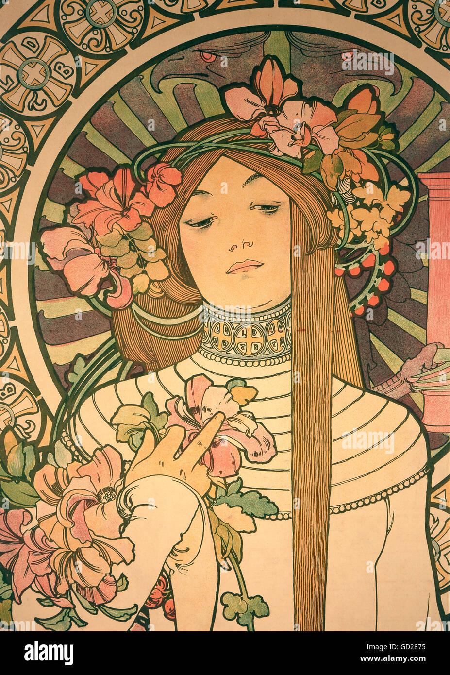 """Bildende Kunst, Mucha, Alphonse (1860 - 1939), Poster, Plakat für 'La Trappistine """"Likör, farblithographie, Paris, Stockfoto"""