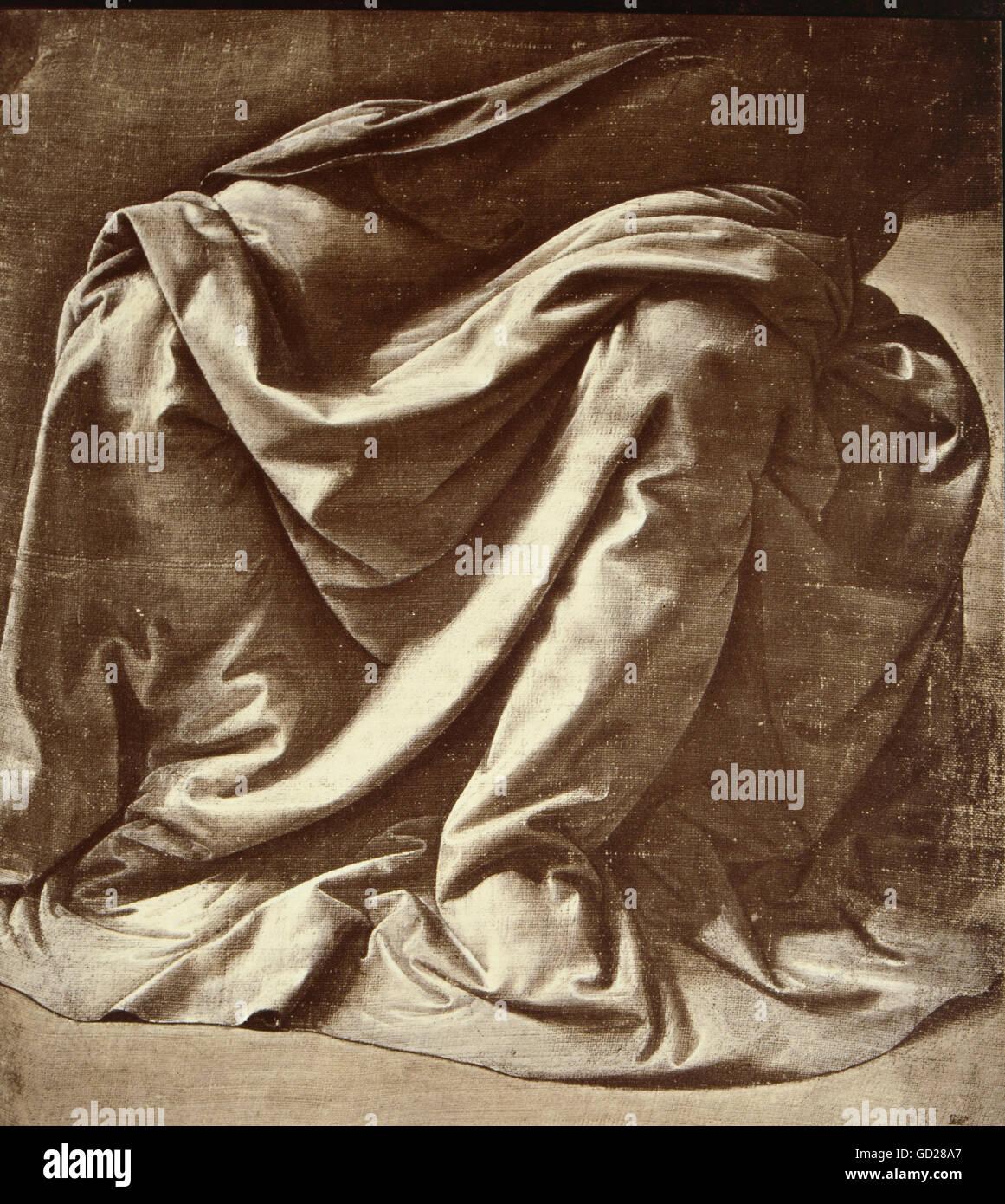 Bildende Kunst, Leonardo da Vinci (1452 - 1519), Zeichnungen, Kleidungsstück Studie für eine sitzende Stockbild