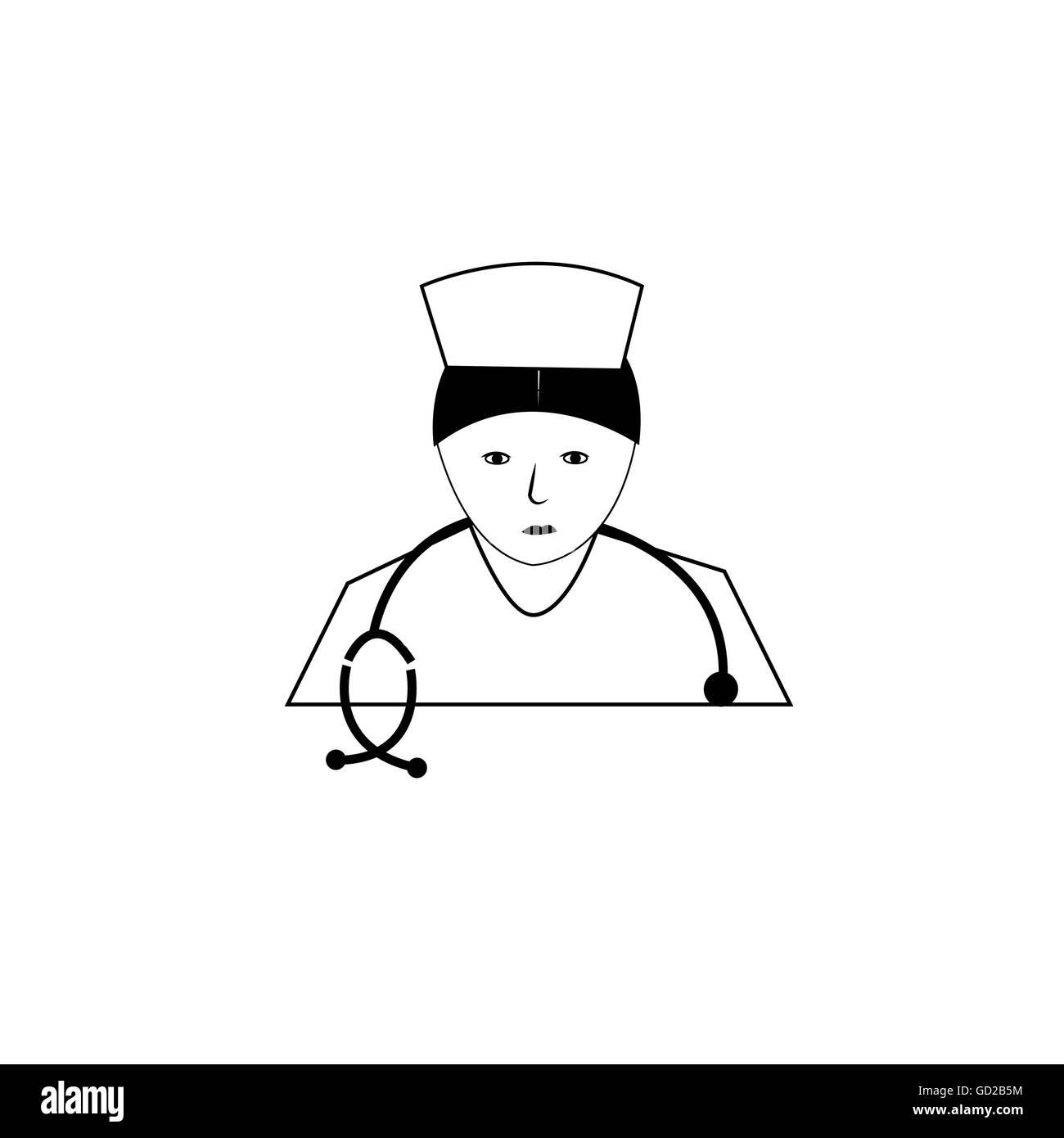 Piktogramm einer Krankenschwester in Uniform. Stockbild