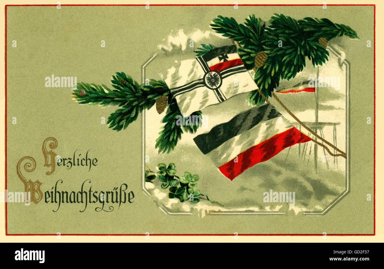Weihnachtsgrüße Deutsch.Deutschland Weihnachtskarte Mit Der Flagge Der Kriegsschiffe Nach