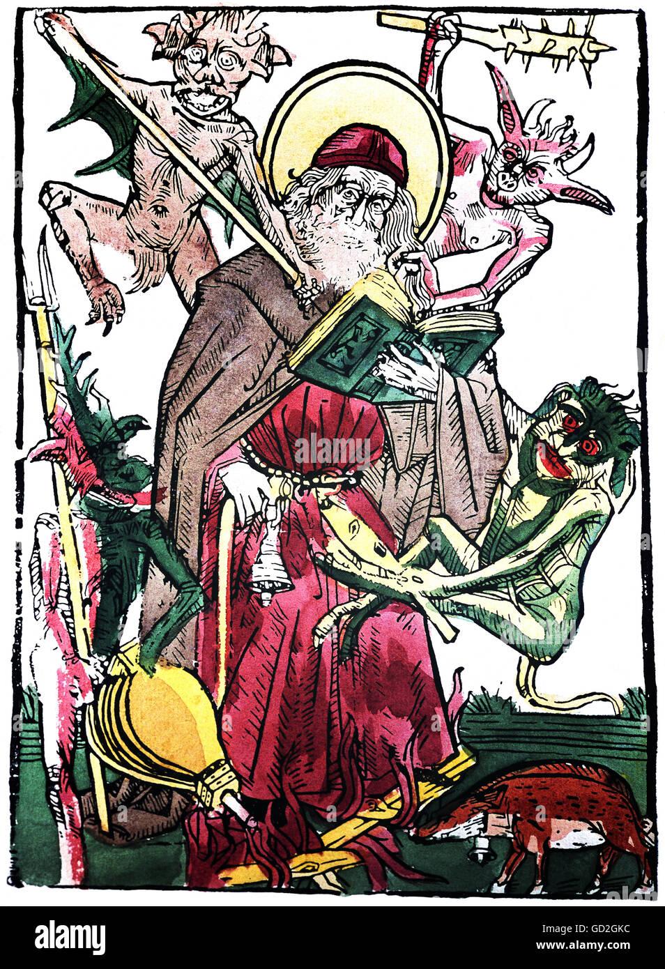 Religion, Christentum, Saint, Versuchung des Heiligen Antonius, farbige Holzschnitt, Obere Deutschland, Mitte des Stockbild