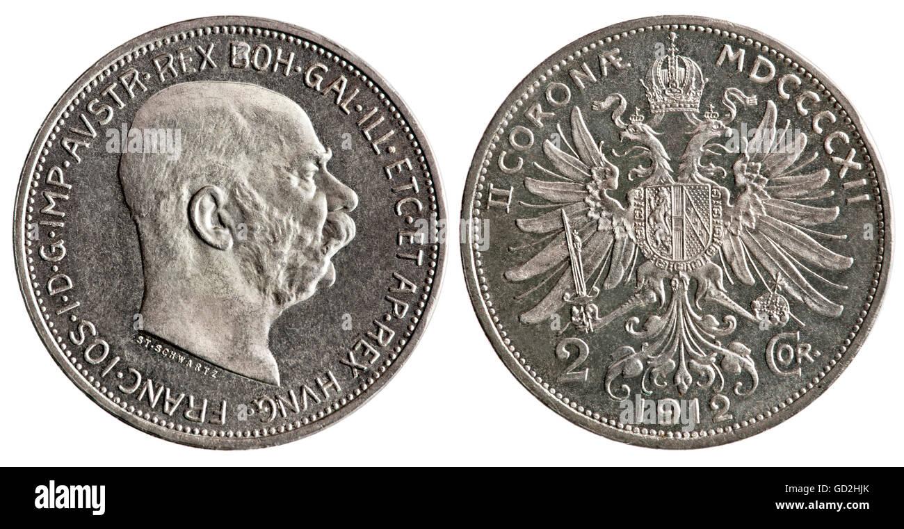 Geldfinanzen Münzen österreich 1912 Silber Münze 2 Krones