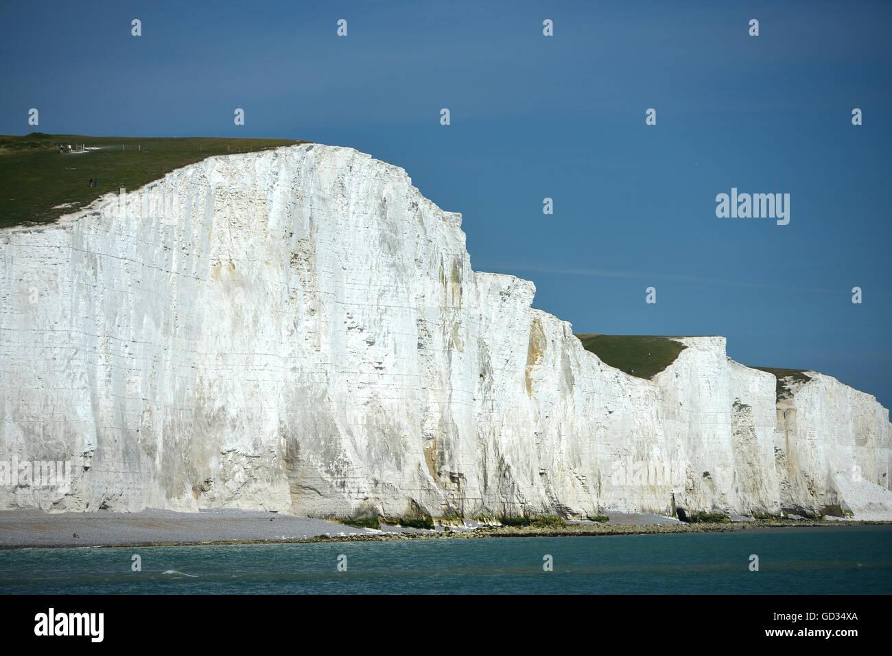 Der berühmte Blick auf der englischen Küste, Seven Sisters Kreidefelsen, East Sussex Stockbild