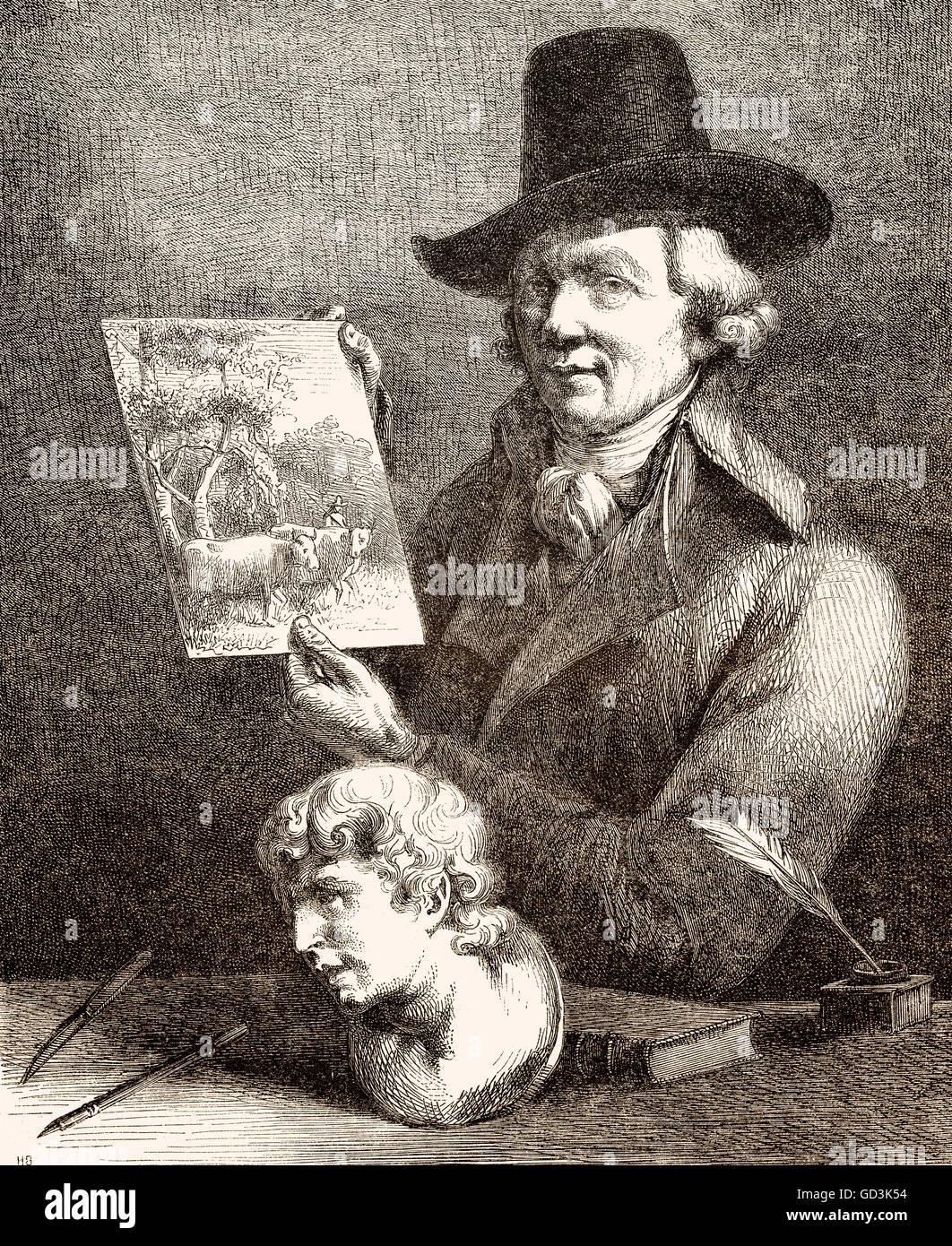 Jean-Jacques de Boissieu, 1736-1810, ein französischer Zeichner, Radierer und Kupferstecher, Jean-Jacques de Stockbild