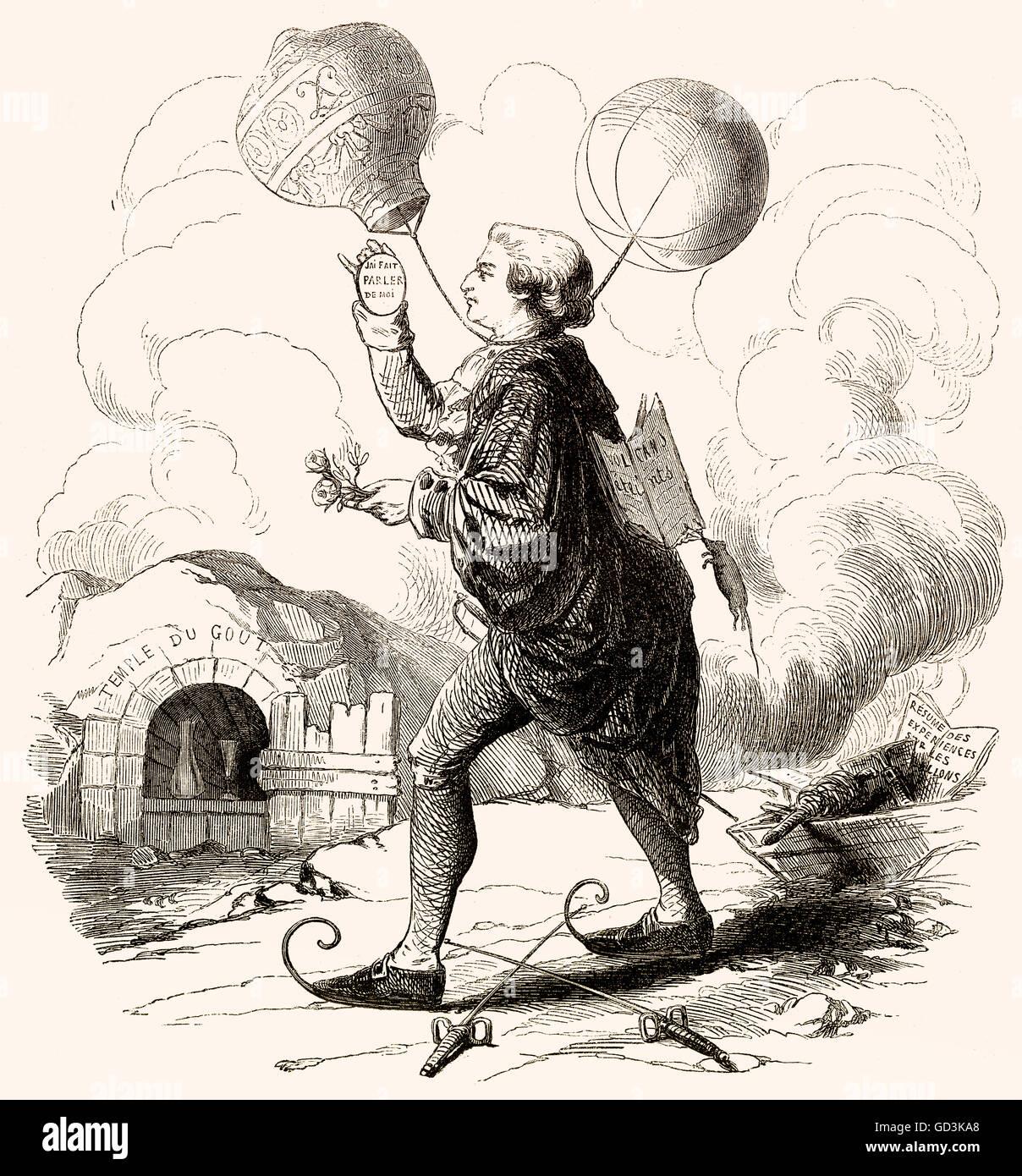 Balloonomania, Karikatur in Frankreich im späten 18. Jahrhundert Stockbild