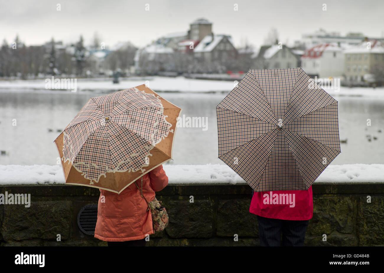 Menschen mit Regenschirmen von The Pond in Reykjavik, Island Stockbild