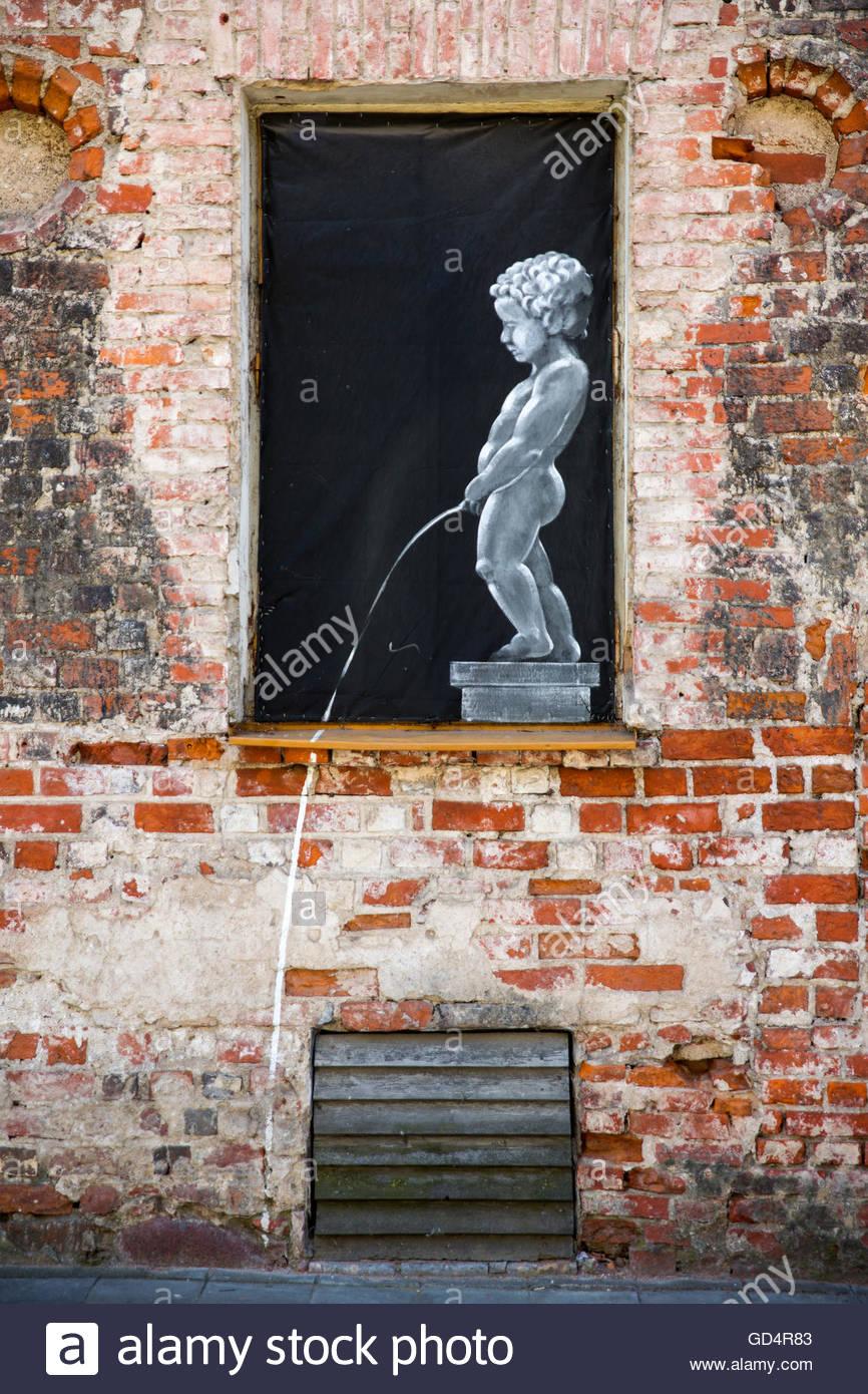 Bildende Kunst, Graffiti, Kaunas, Litauen, Artist's Urheberrecht muss auch gelöscht werden. Stockbild
