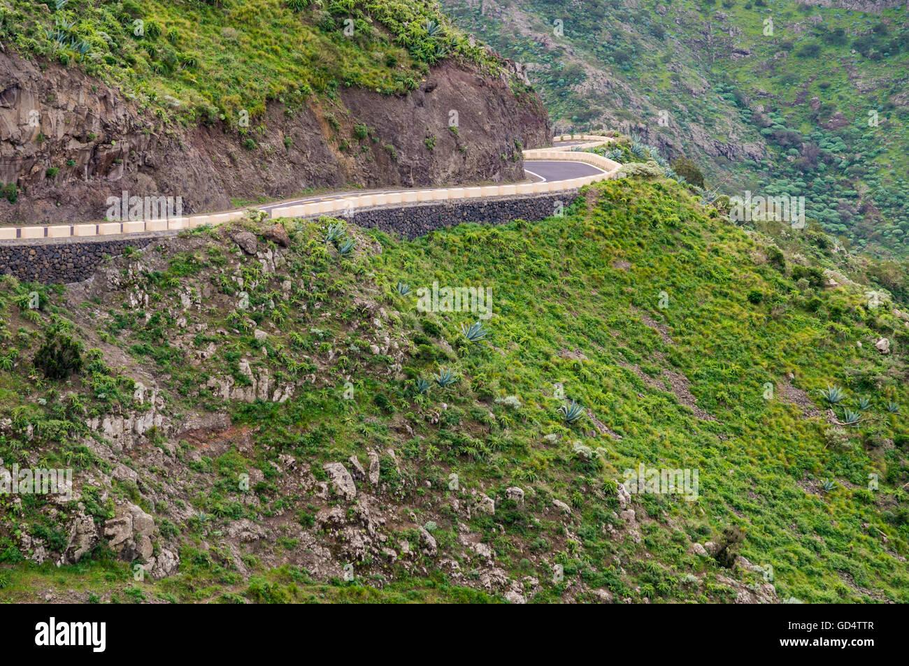 Highland Serpentine in Macizo de Teno-Gebirge, Teneriffa, Spanien Stockbild