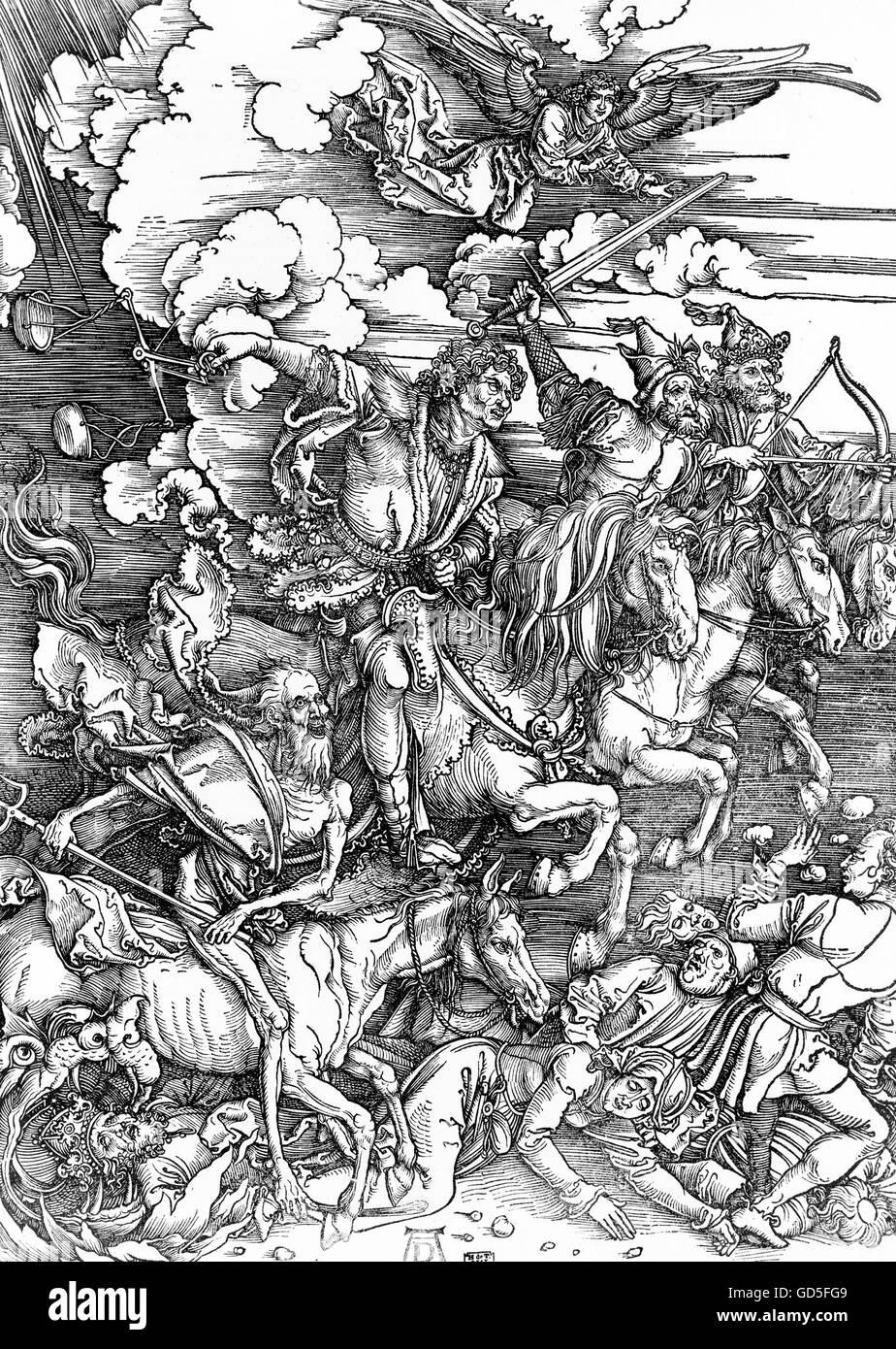 Vier Reiter der Apokalypse von Albrecht Dürer, 1511, Holzschnittdruck. Stockbild