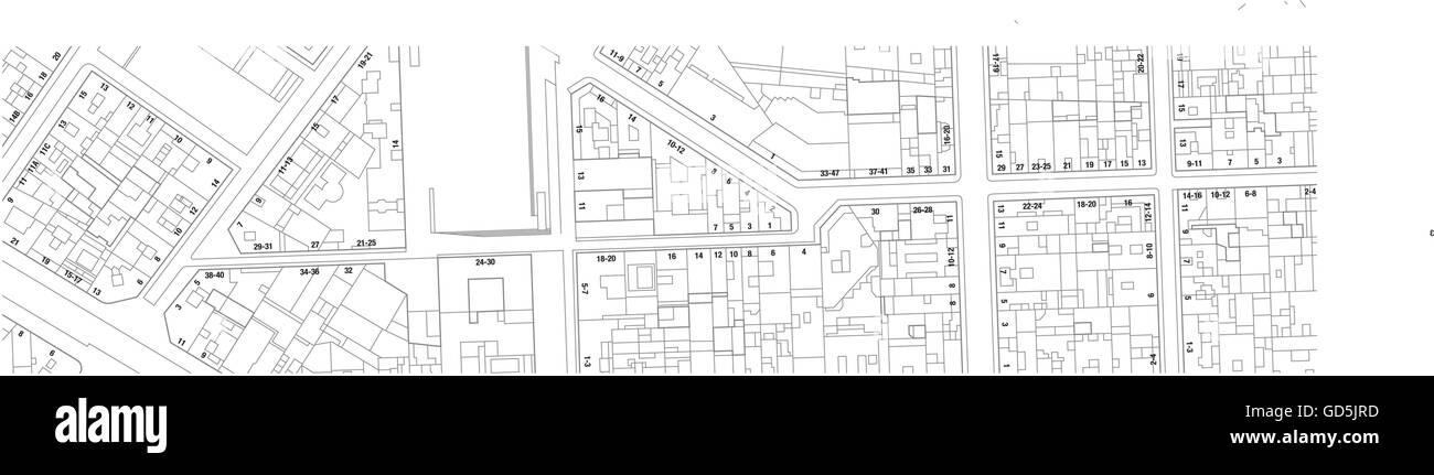 Karte Mit Hausnummern.Imaginäre Kataster Karte Des Gebiets Mit Gebäuden Straßen Und