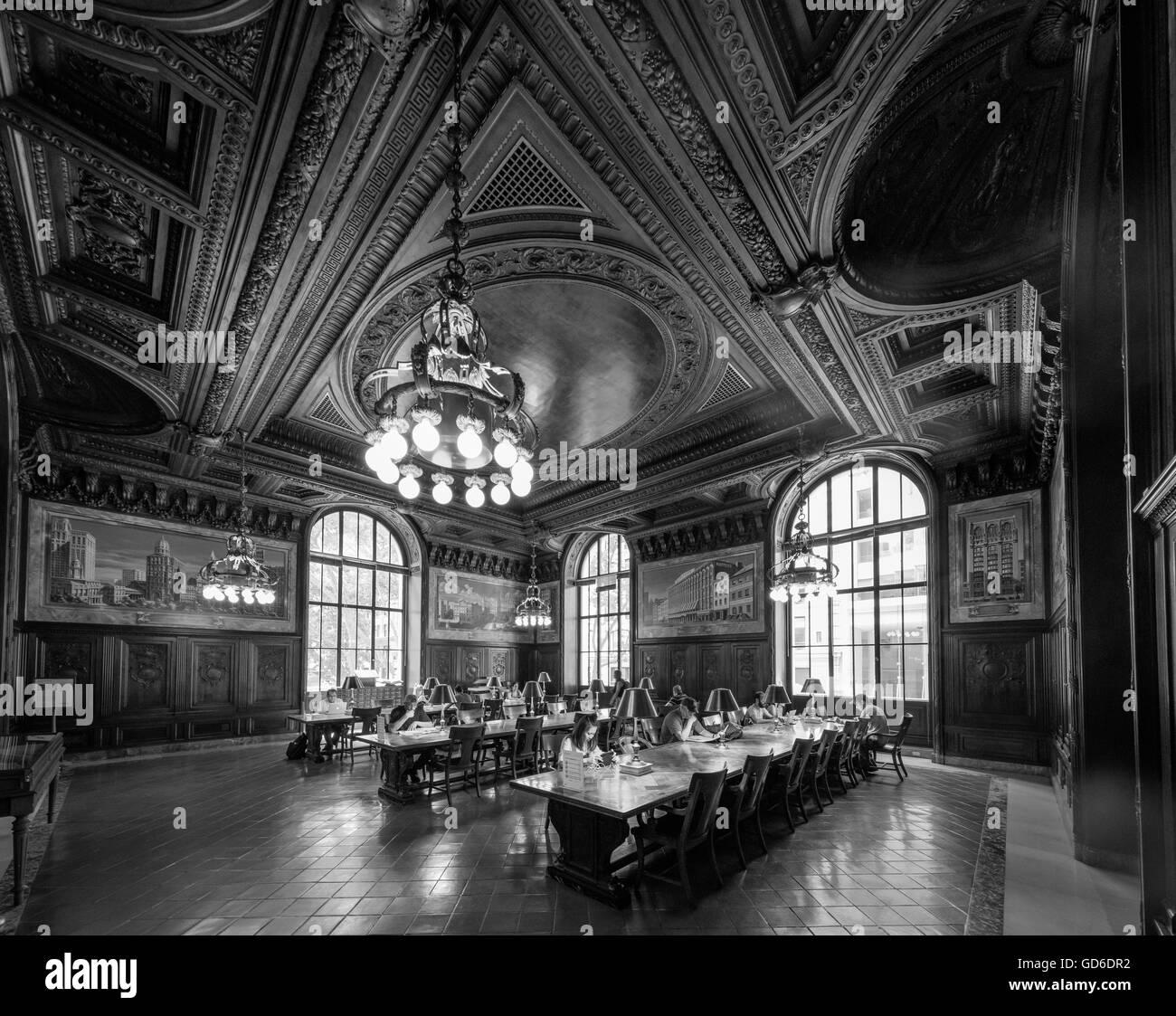 Der New York Public Library (NYPL) ist eine öffentliche Bibliothek in New York City. Stockbild