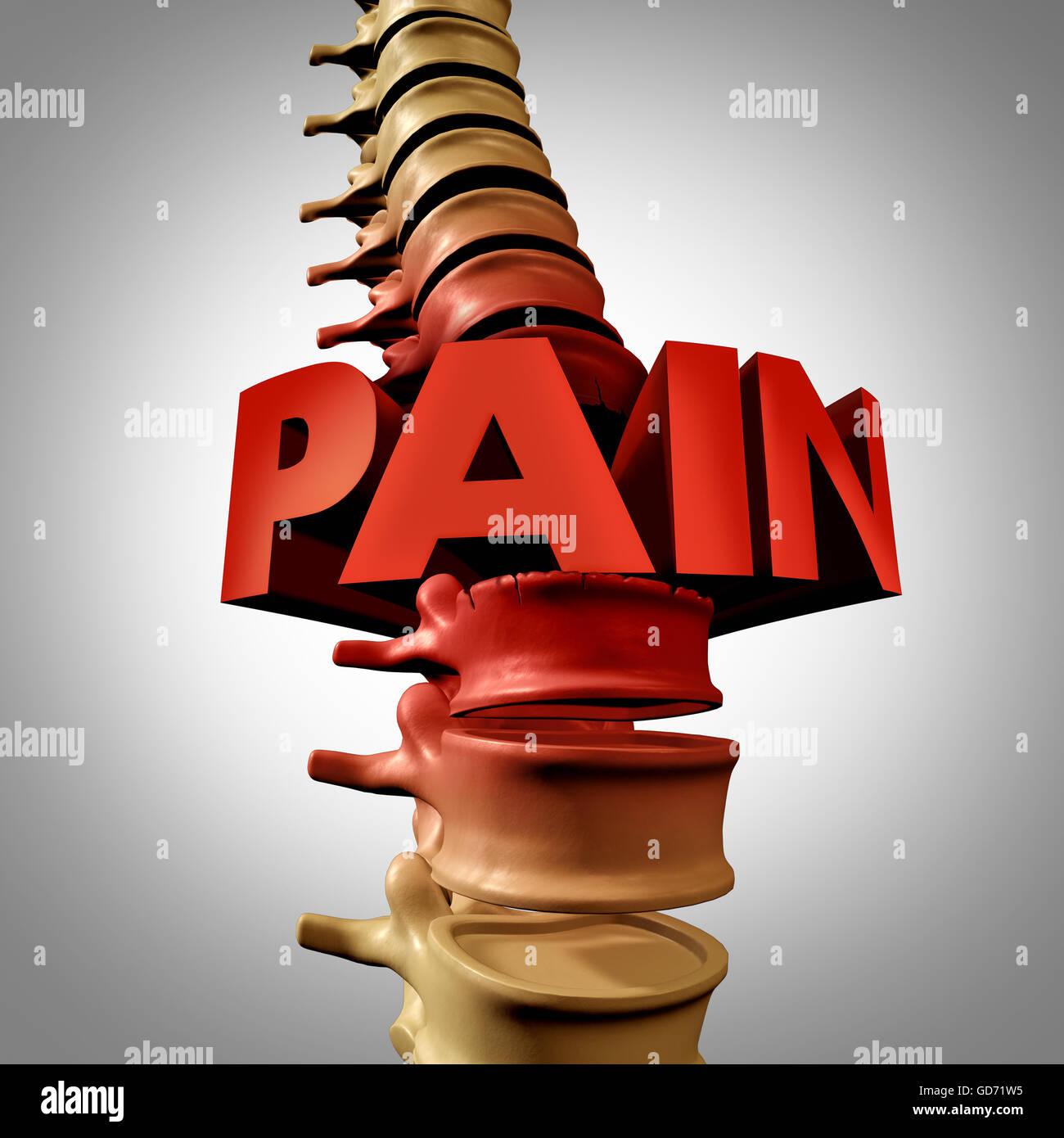 Menschliche Wirbelsäule Schmerzen Text und spinaler Bruch oder ...
