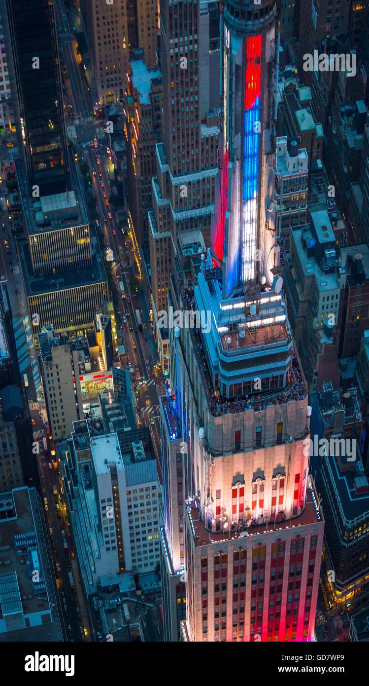 Das Empire State Building ist ein 102-Geschichte Wahrzeichen Art-Déco-Wolkenkratzer in New York City, USA Stockbild