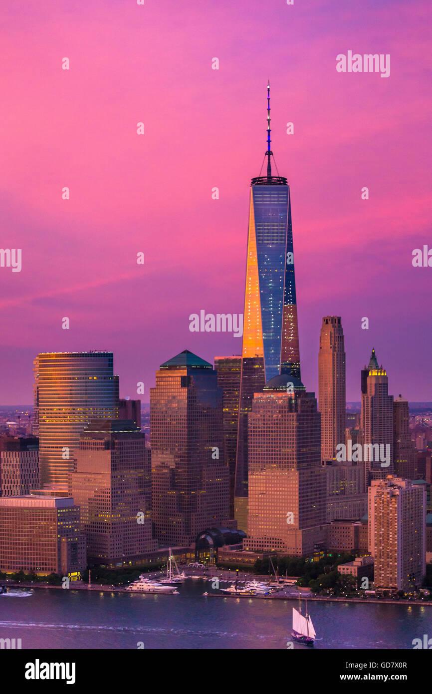 Battery Park ist ein 25-Hektar (10 ha) öffentlicher Park befindet sich an der Südspitze von Manhattan Stockbild