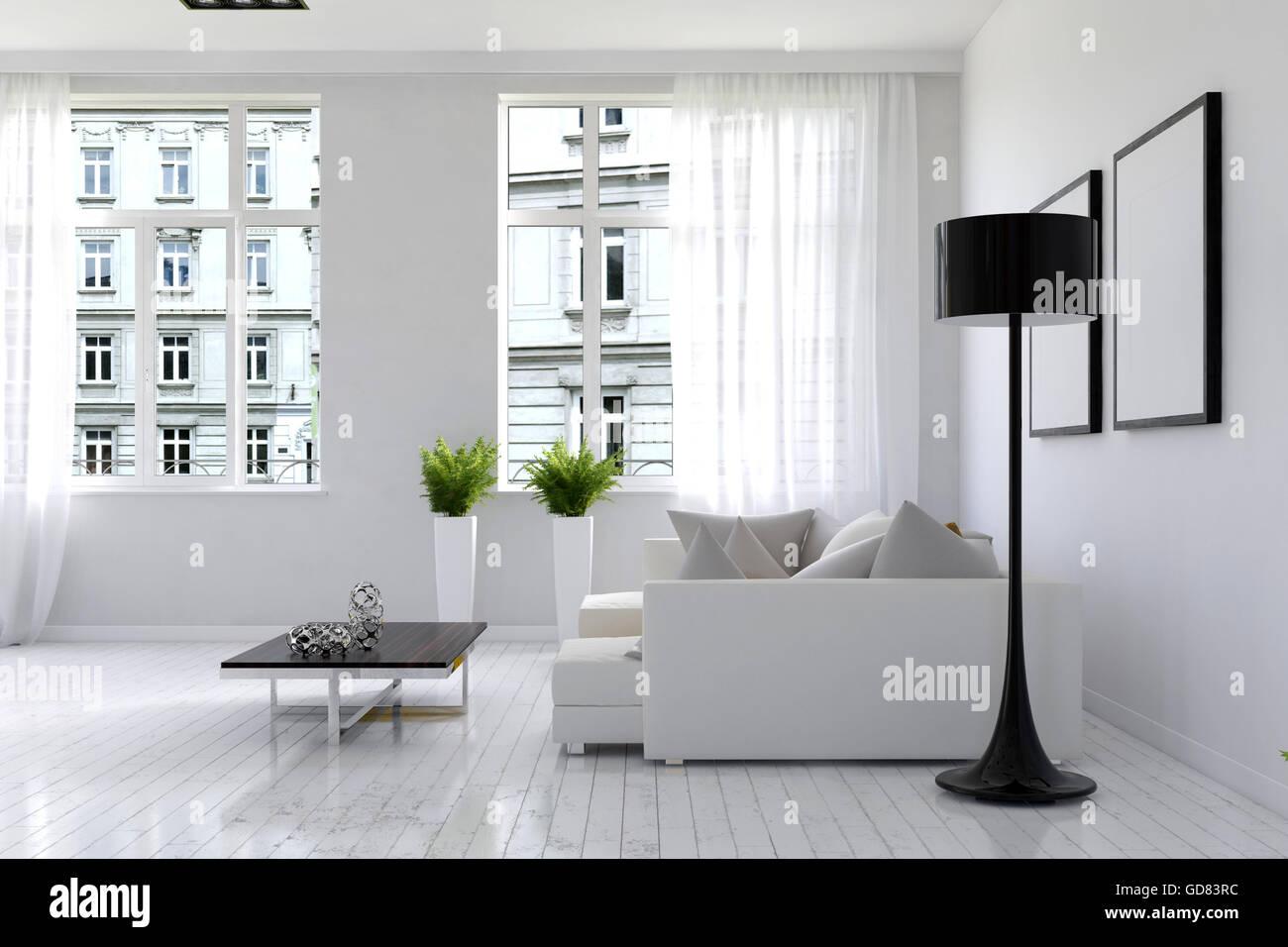 Sofa On White 3d Rendering Stockfotos & Sofa On White 3d Rendering ...