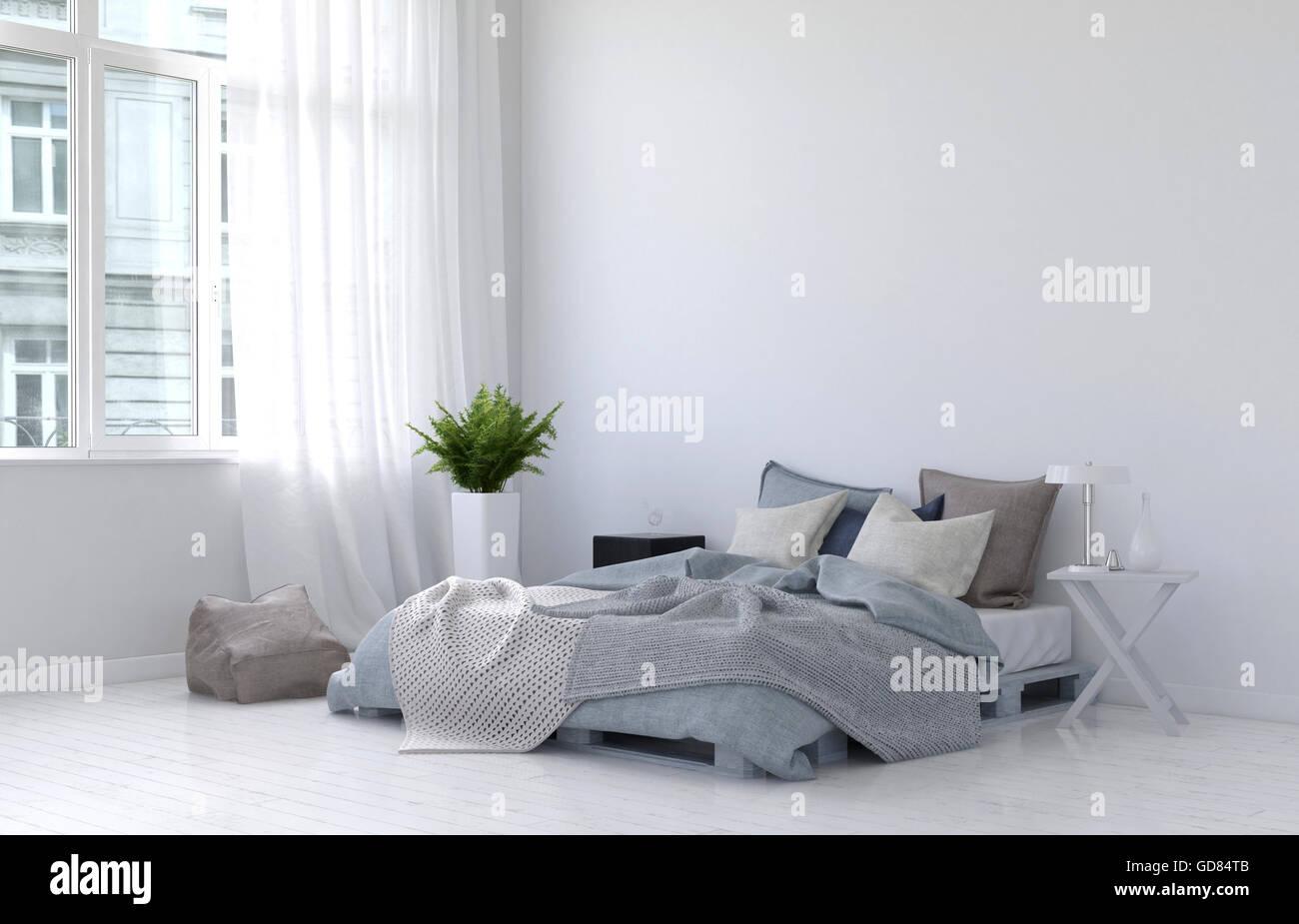 Fußboden Schlafzimmer Lampen ~ Großen casement fenster mit weißen gardinen farn pflanze