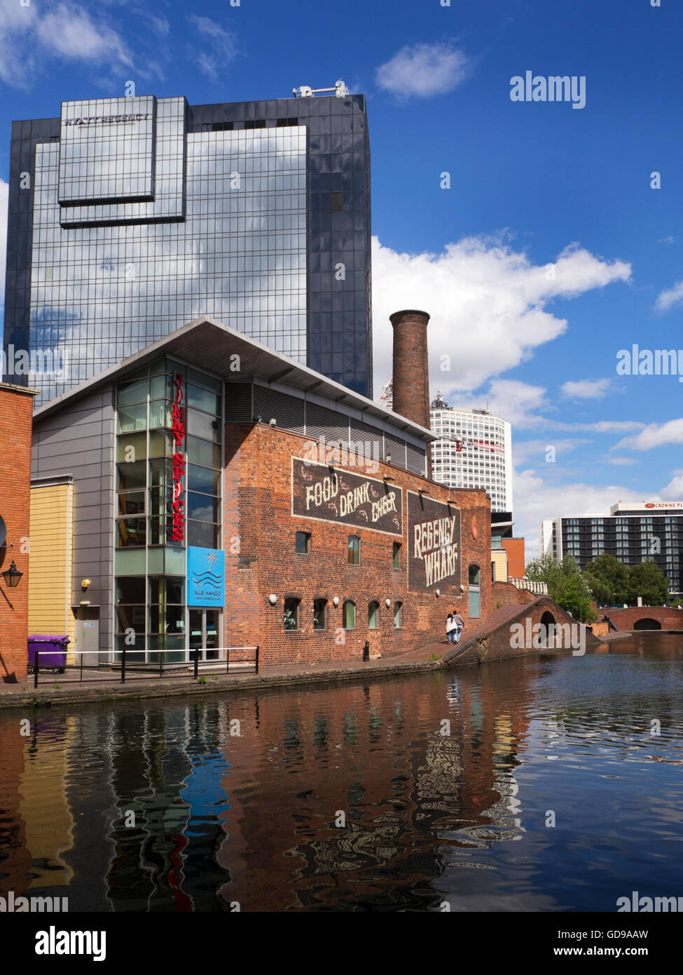 Regency Wharf am Birmingham Kanal an Gas Street Basin Birmingham West Midlands in England Stockbild
