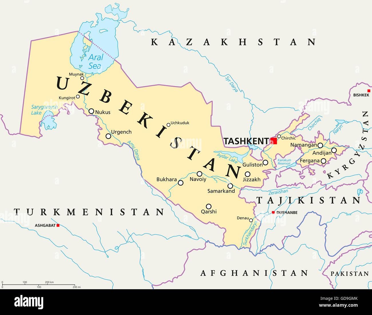 Usbekistan Karte.Usbekistan Politische Karte Mit Hauptstadt Taschkent Landesgrenzen