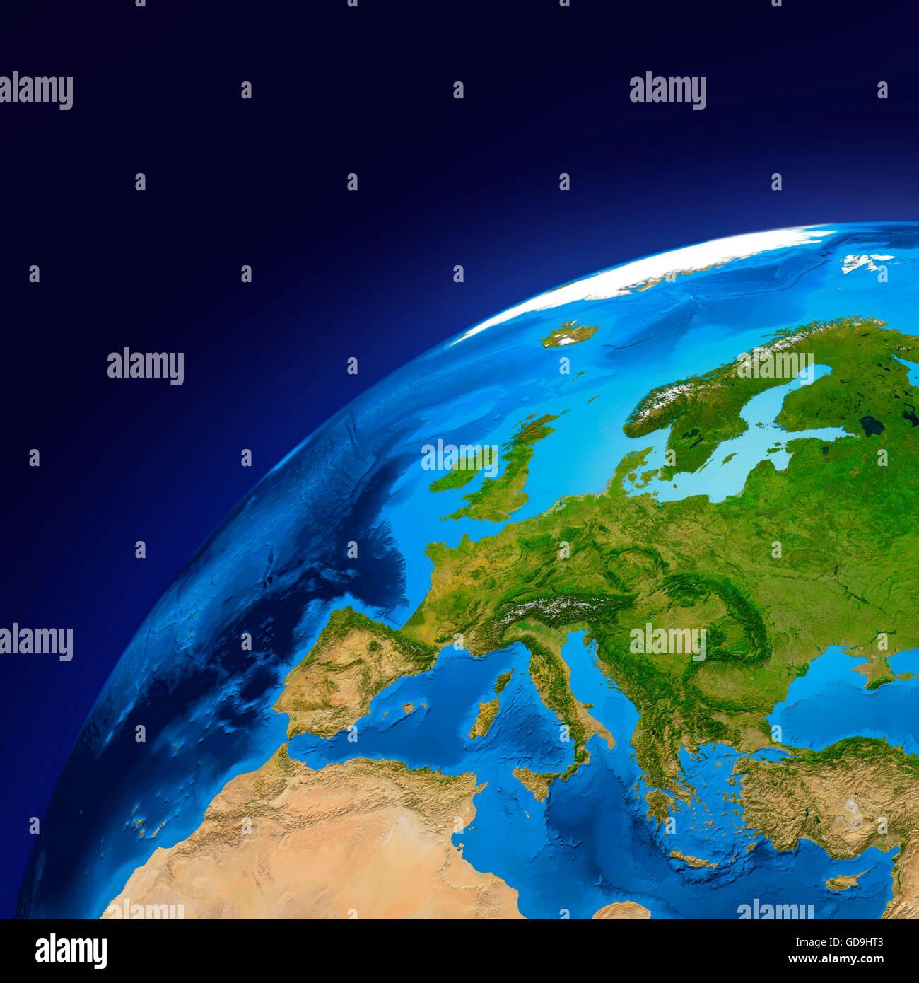Erdkugel zeigt europäische Kontinent, 3D illustration Stockbild