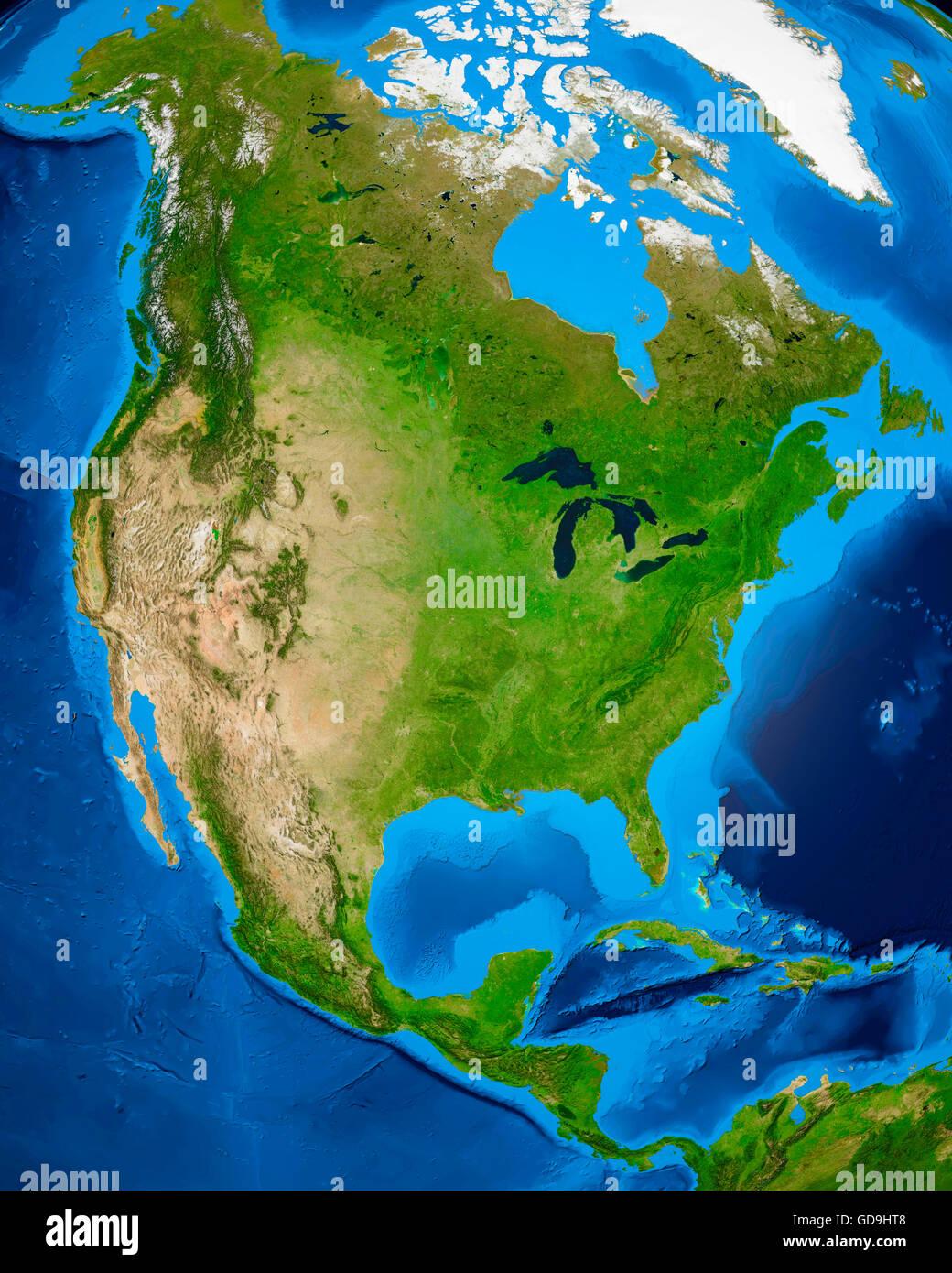 Erdkugel zeigt nordamerikanischen Kontinent, 3D illustration Stockbild