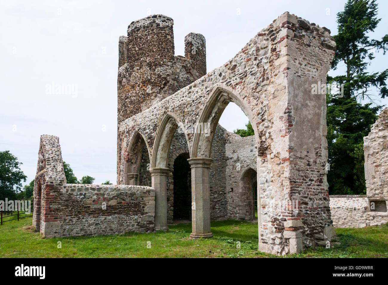 Die zerstörte Kirche St Mary, einmal einen Teil der verlorenen Dorf Appleton zwischen West Newton und Sandringham Stockbild