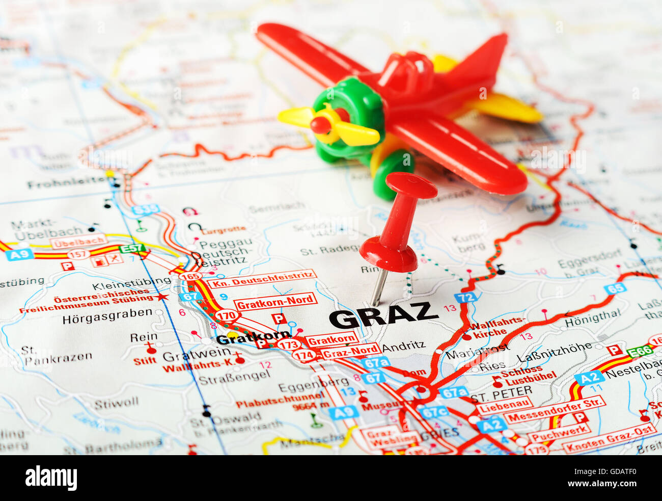 Karte Graz.Nahaufnahme Von Graz Osterreich Karte Mit Roten Stift Und