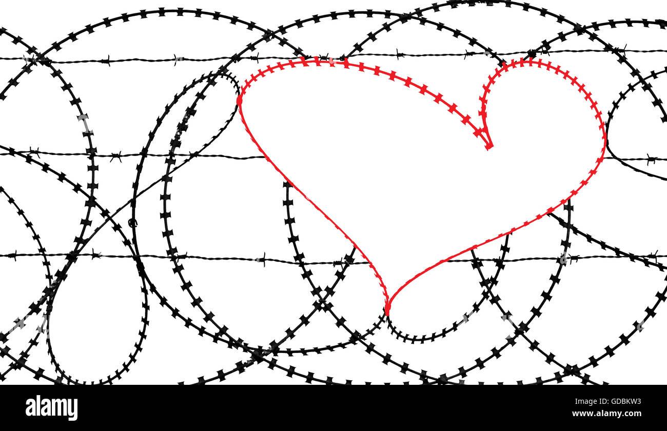 Natürliche Herzform in einen Stacheldrahtzaun auf weißem Hintergrund. Freiheit, Frieden, Hoffnung und Stockbild