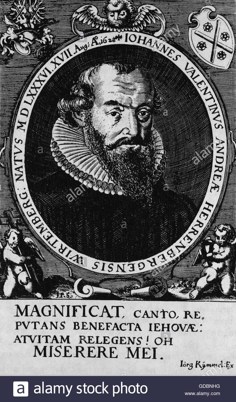 Andreae, Johann Valentin, 17.8.1586 - 27.6.1654, deutscher Theologe, Autorin/Autor, Mystiker, der Gründer der Stockbild